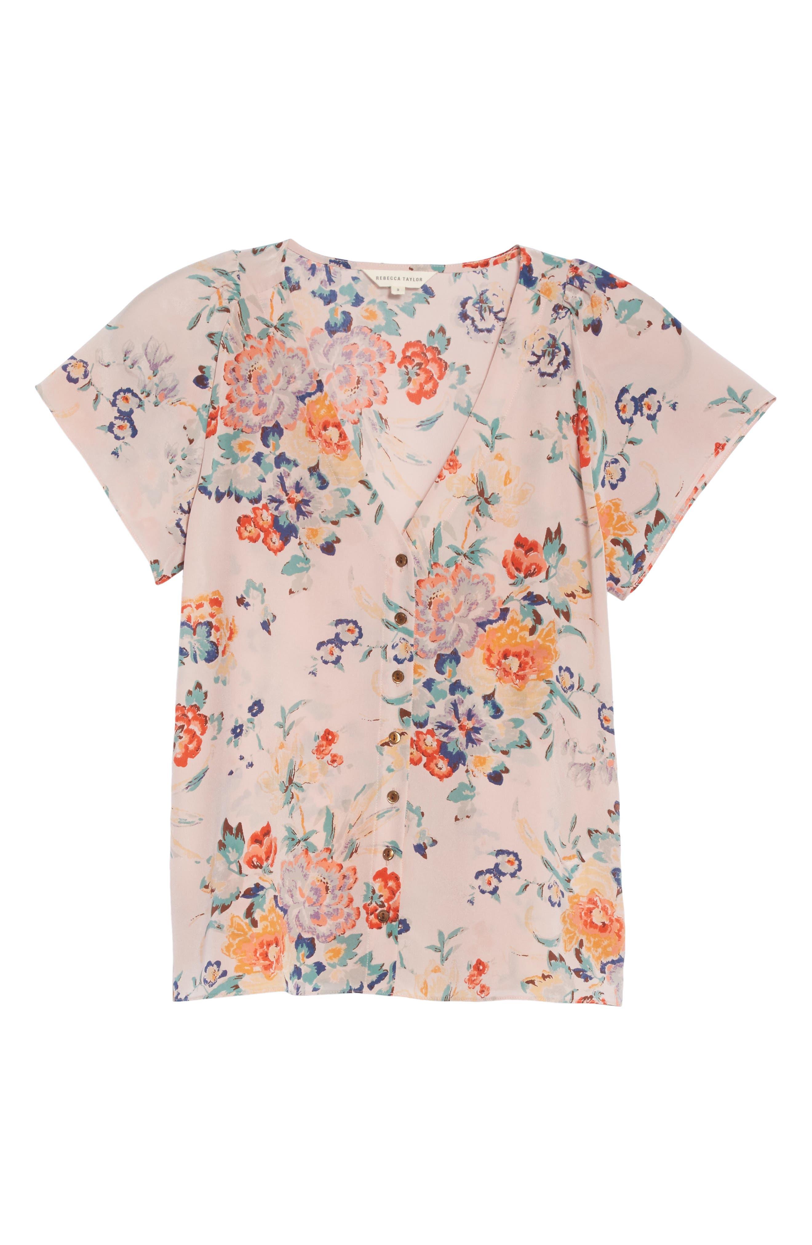 Marlena Floral Silk Blouse,                             Alternate thumbnail 6, color,