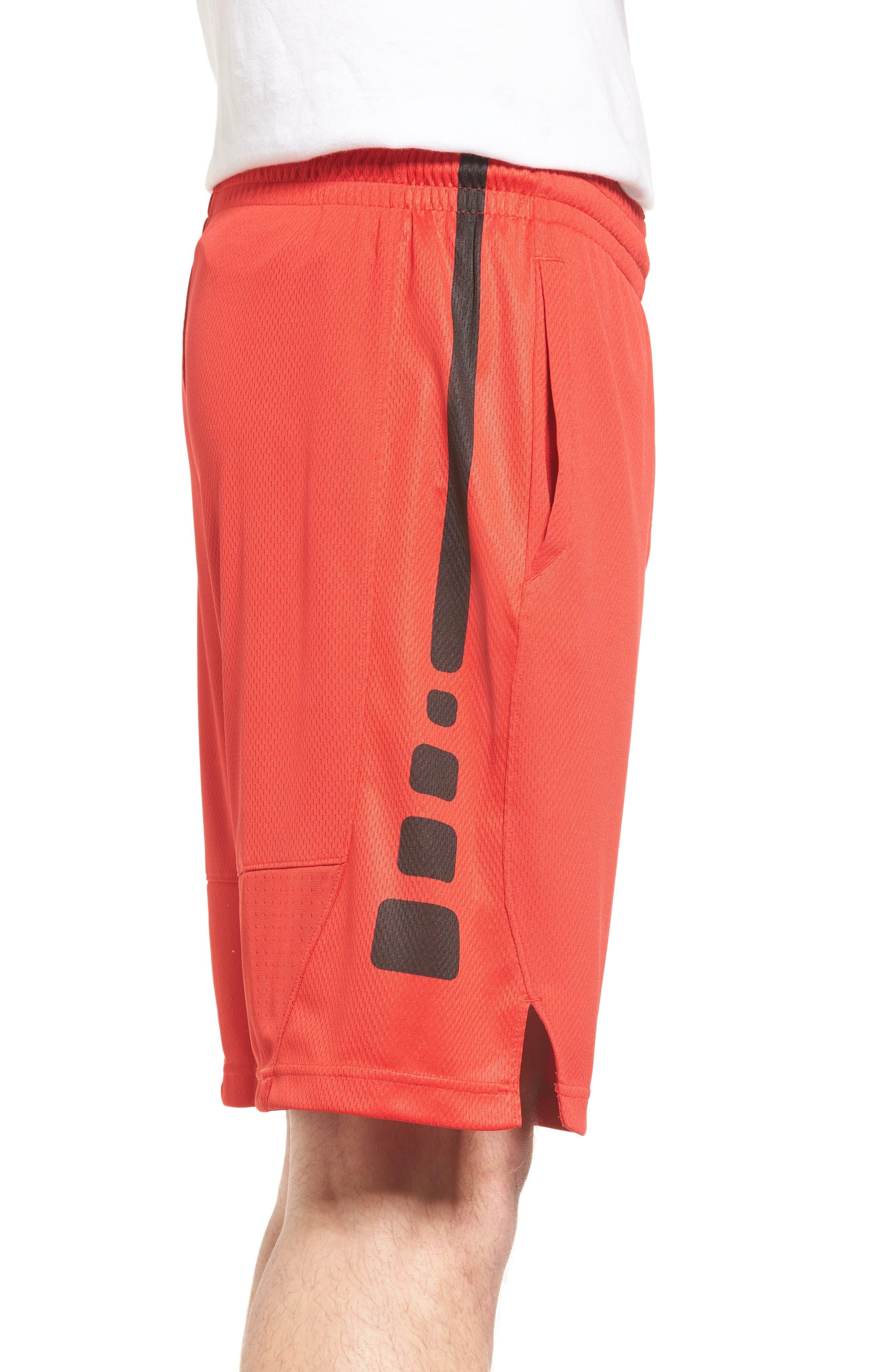 Elite Stripe Basketball Shorts,                             Alternate thumbnail 3, color,                             UNIVERSITY RED/ BLACK