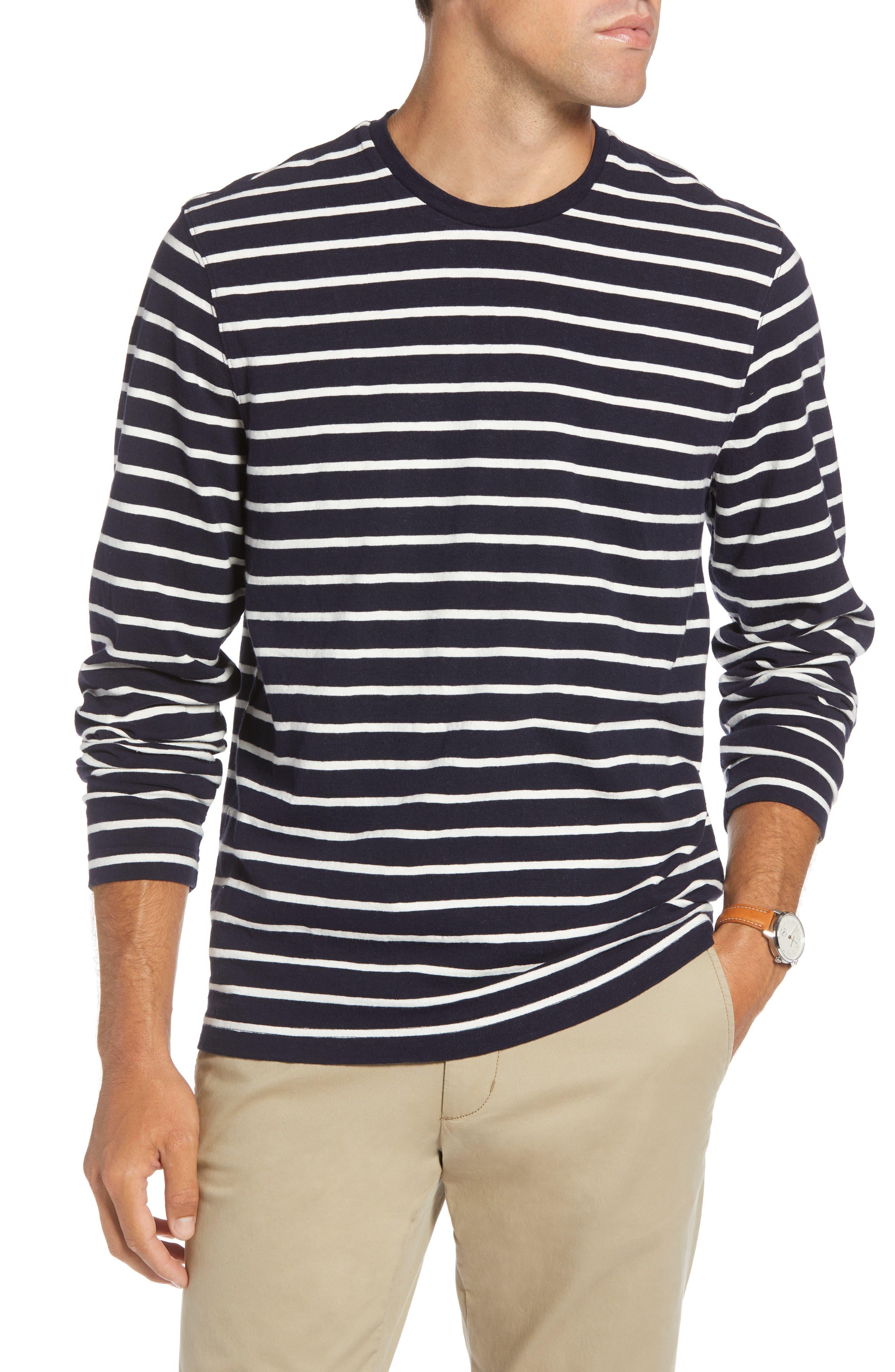 Stripe Long Sleeve T-Shirt,                             Main thumbnail 1, color,                             NAVY NIGHT ECRU STRIPE