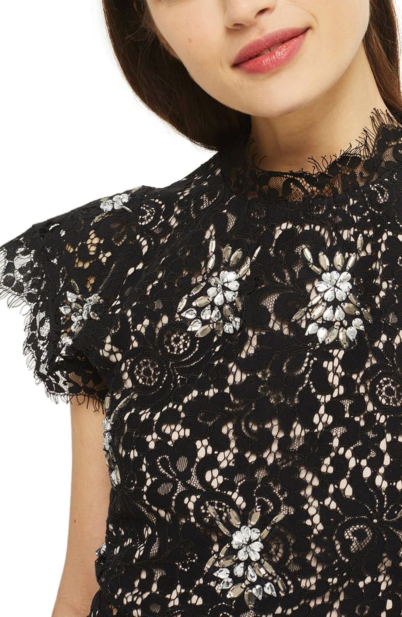 Embellished High Neck Lace Top,                         Main,                         color, 001