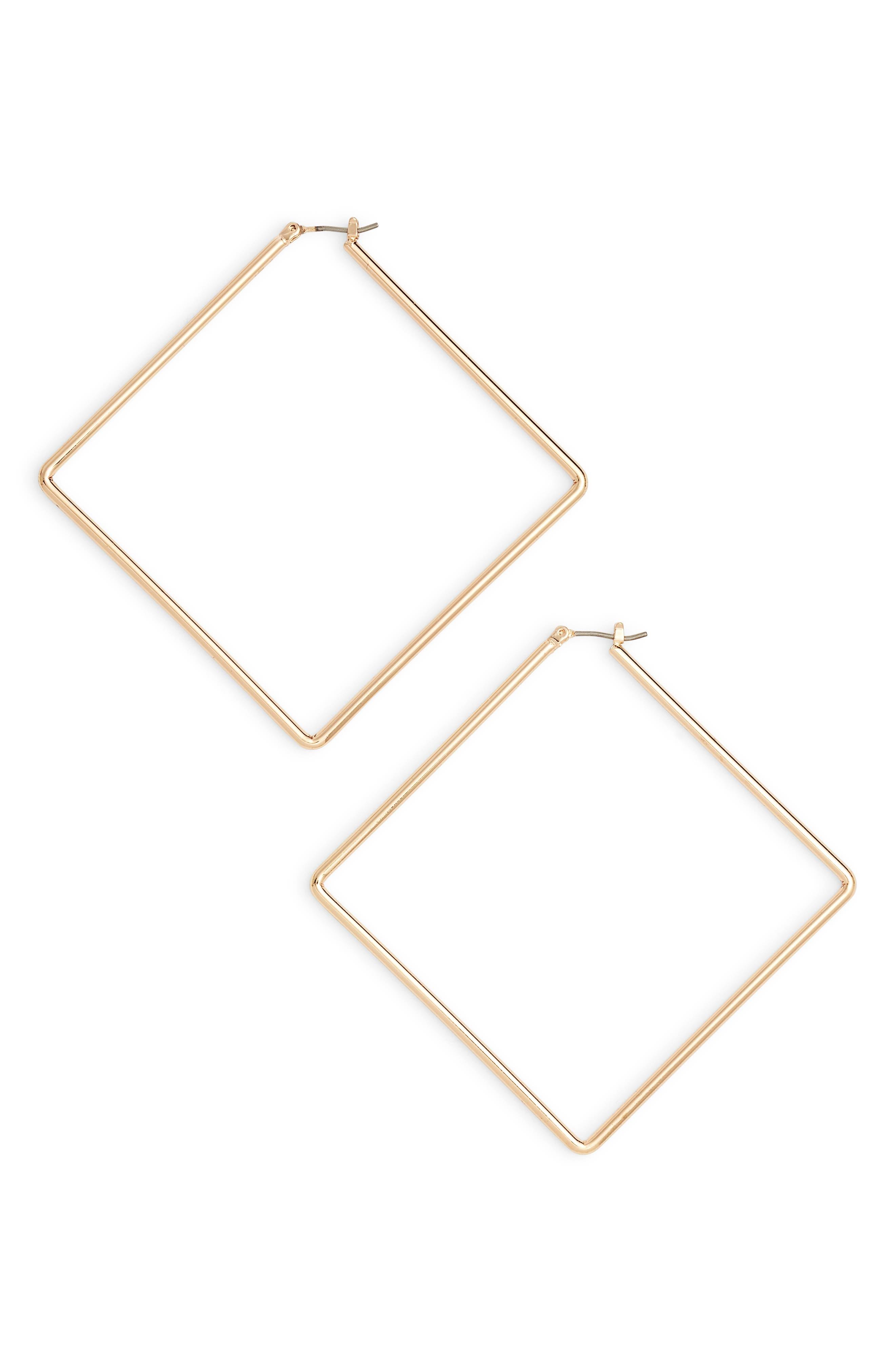 Girl Boss Square Hoop Earrings, Main, color, GOLD