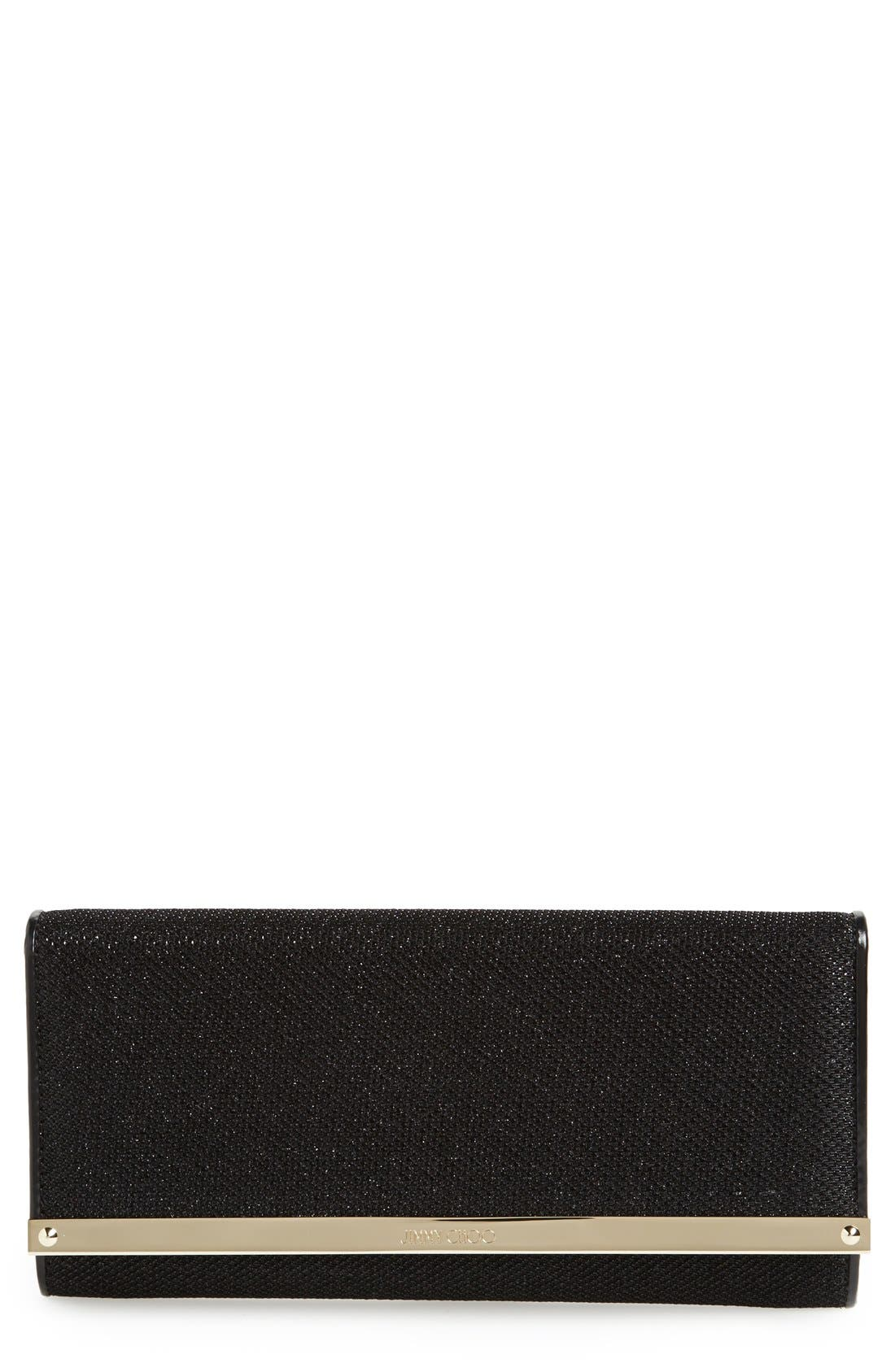 'Milla' Glitter Lamé Wallet on a Chain,                             Main thumbnail 1, color,                             001