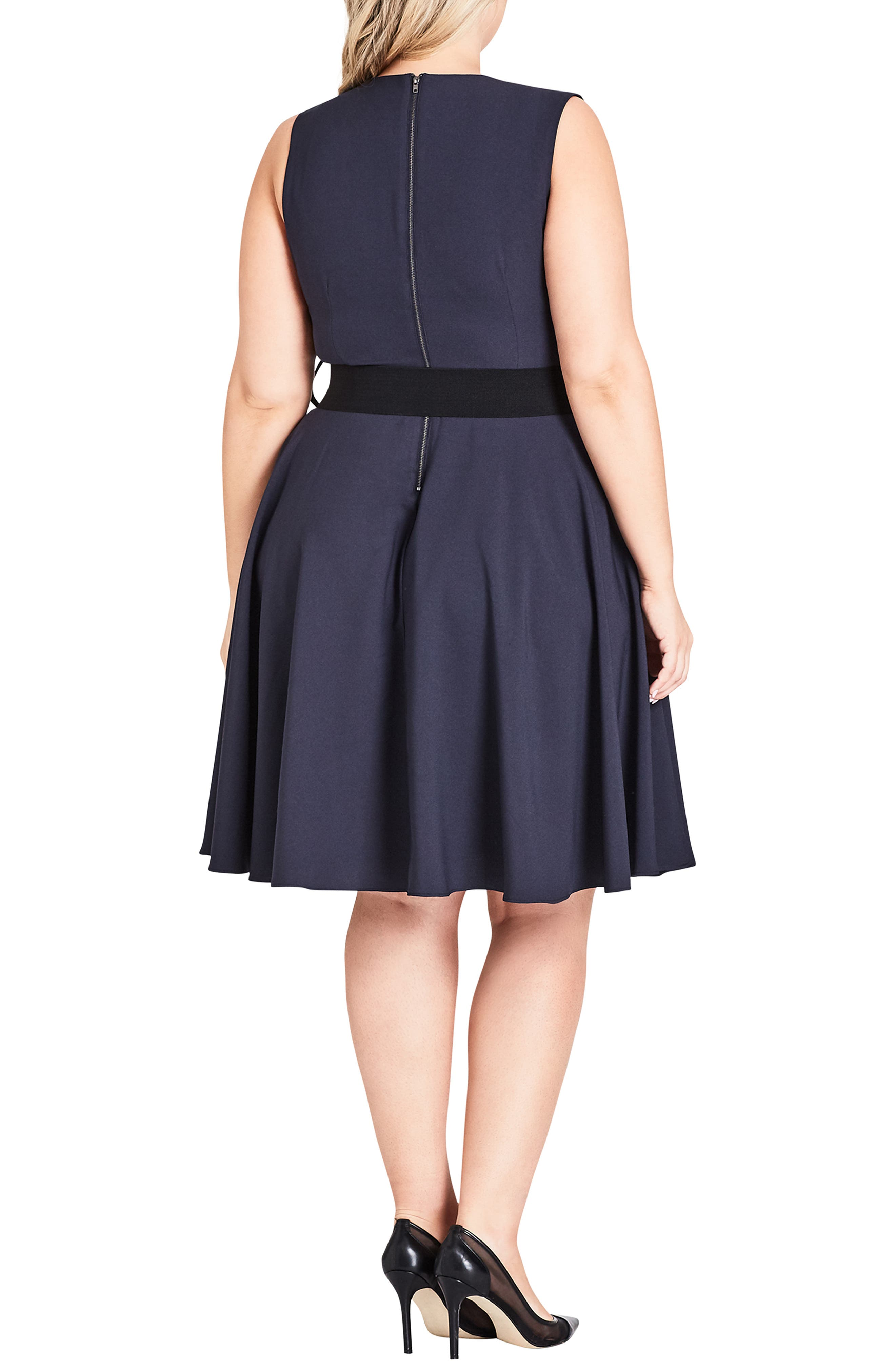 Vintage Veronica Belted Pleat Fit & Flare Dress,                             Alternate thumbnail 2, color,                             SMOKE