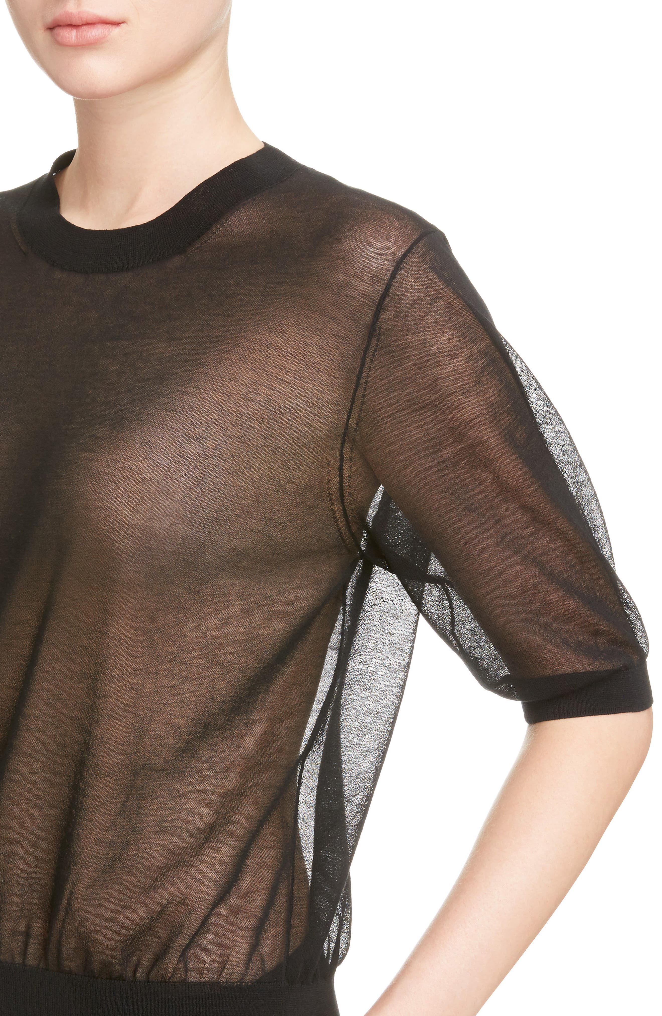 Sheer Cotton Knit Top,                             Alternate thumbnail 4, color,                             001