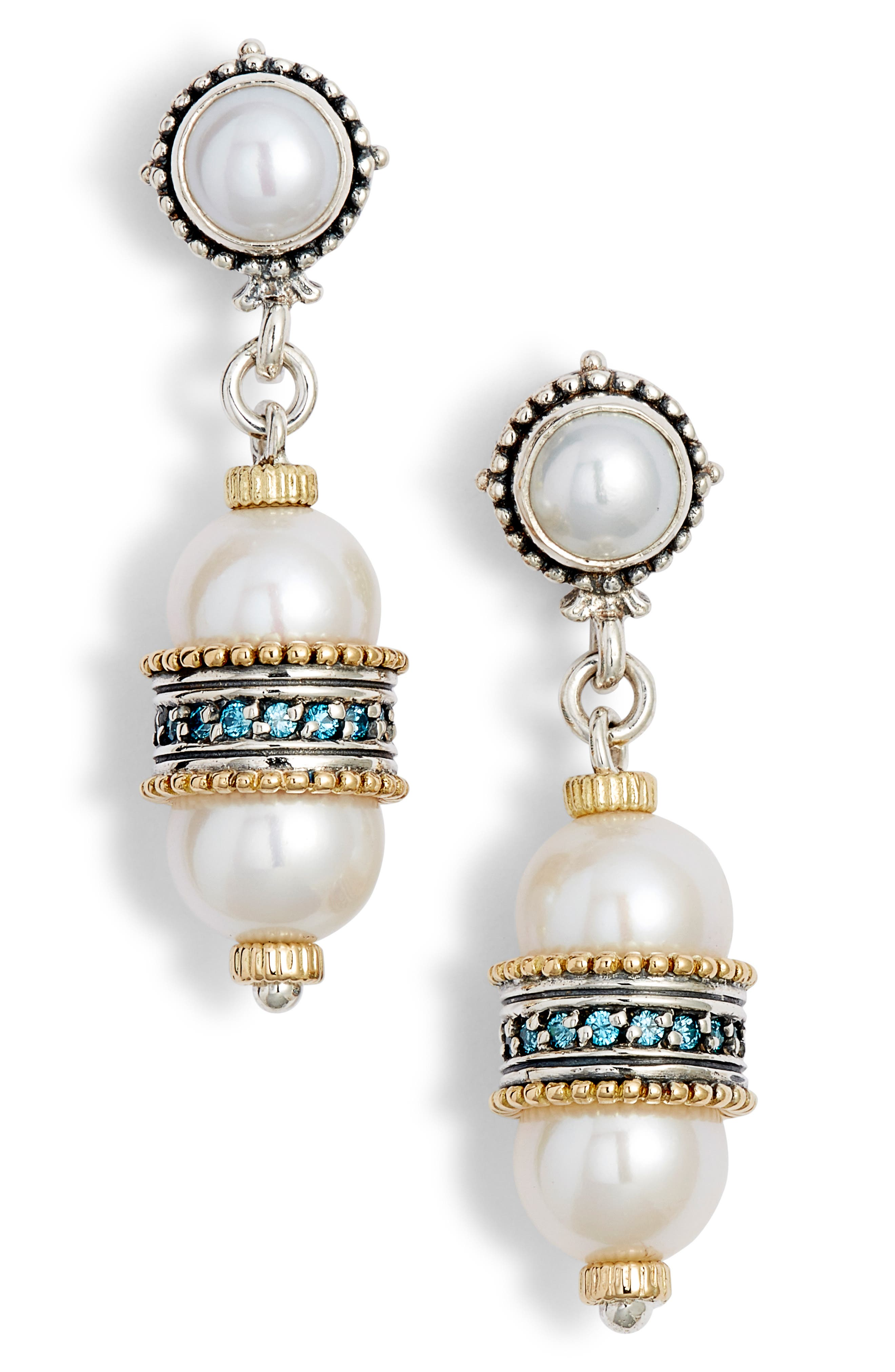 Thalia Double Pearl Drop Earrings,                             Main thumbnail 1, color,                             SILVER/ PEARL