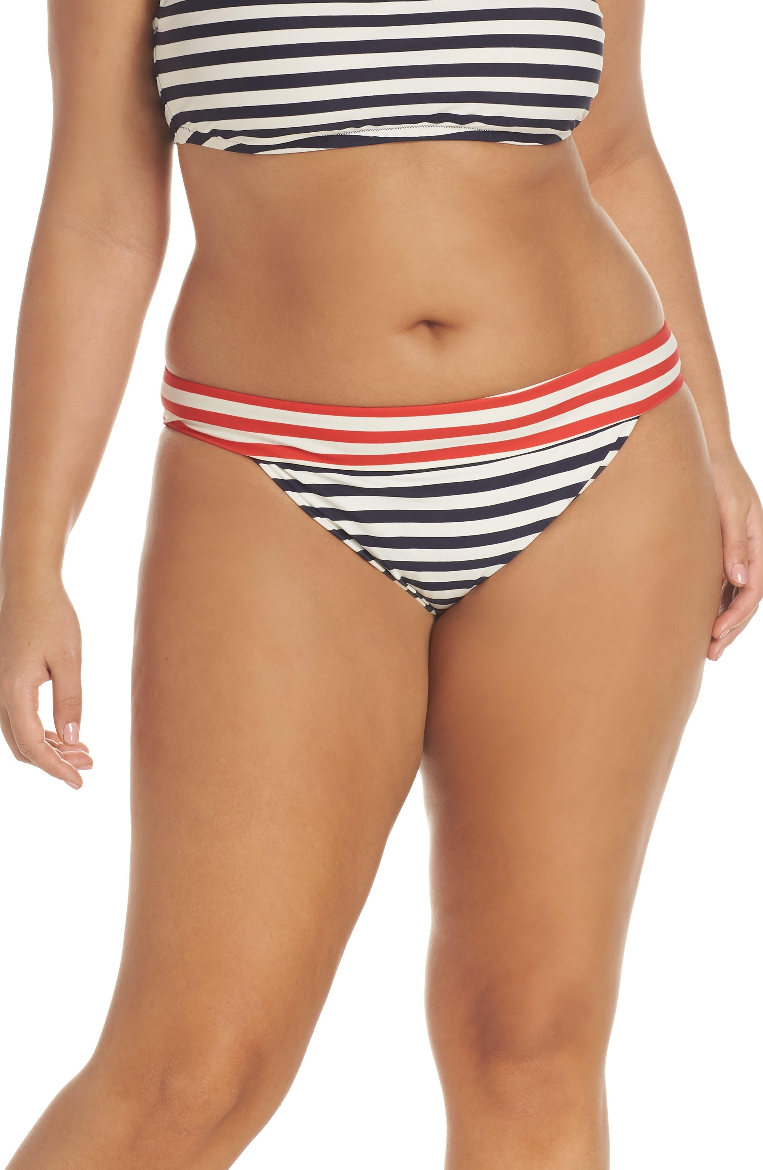 Stripe Banded Bikini Bottoms,                         Main,                         color, NAVY VIVID FLAME