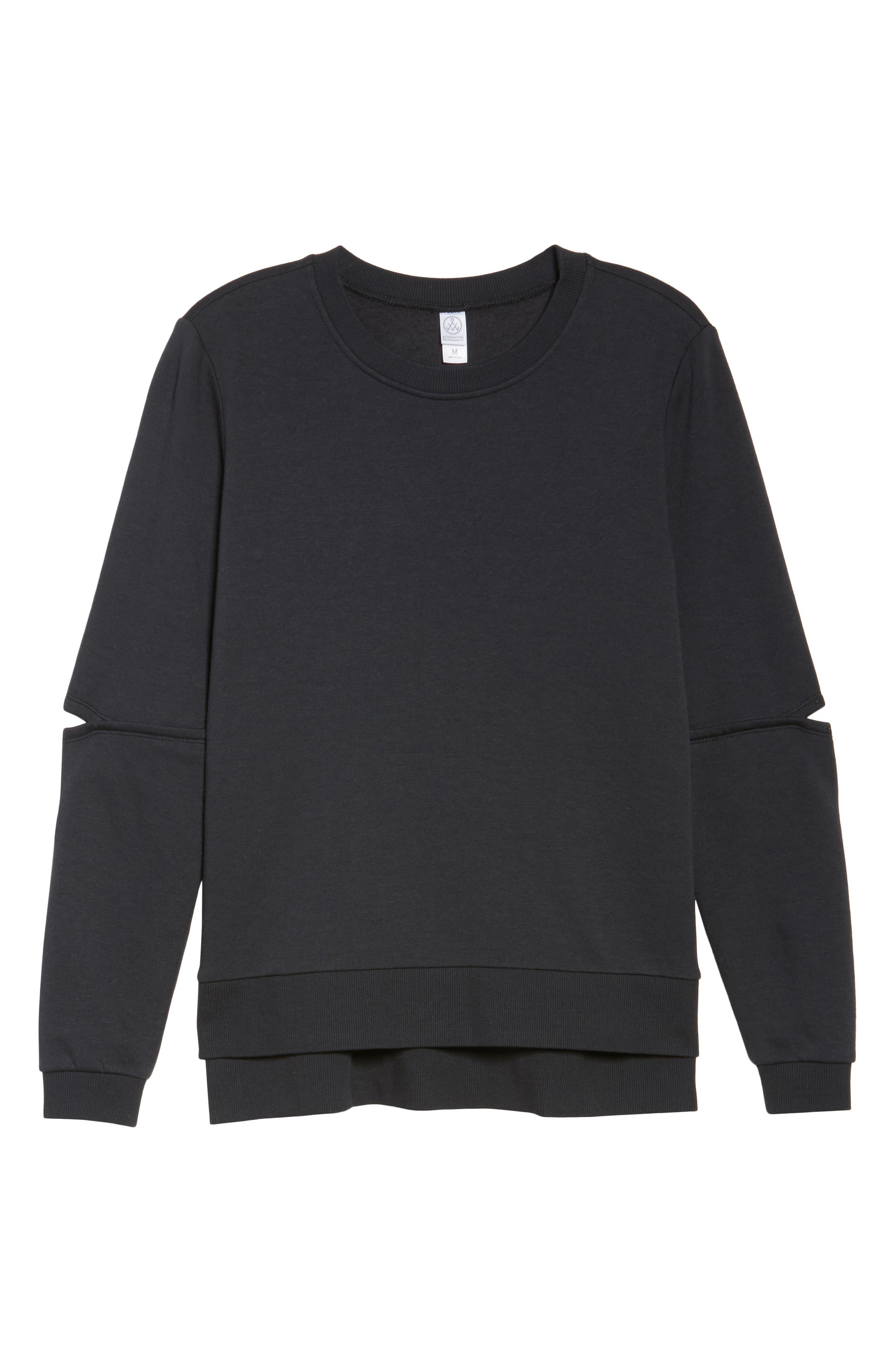Cutout Sweatshirt,                             Alternate thumbnail 6, color,                             001