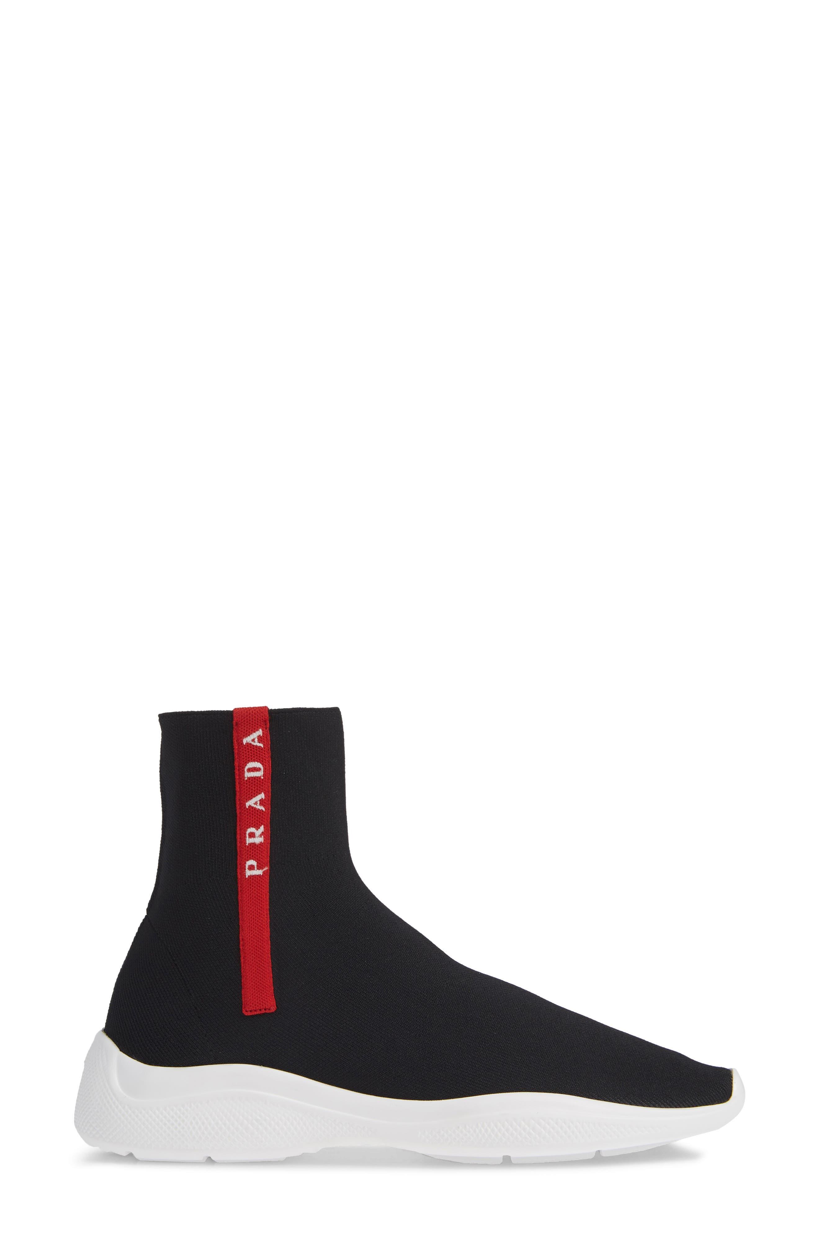 Logo Band Sock Sneaker,                             Alternate thumbnail 3, color,                             BLACK
