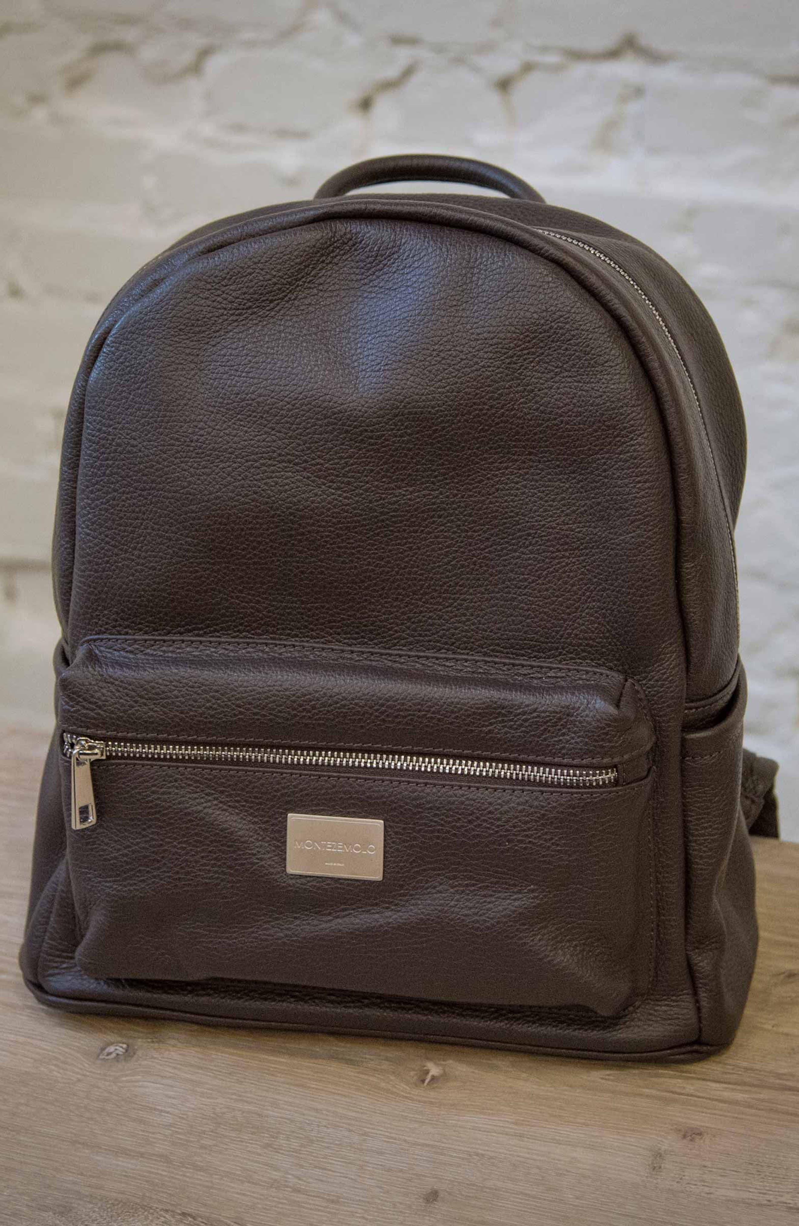 Leather Backpack,                             Alternate thumbnail 4, color,                             MARRONE