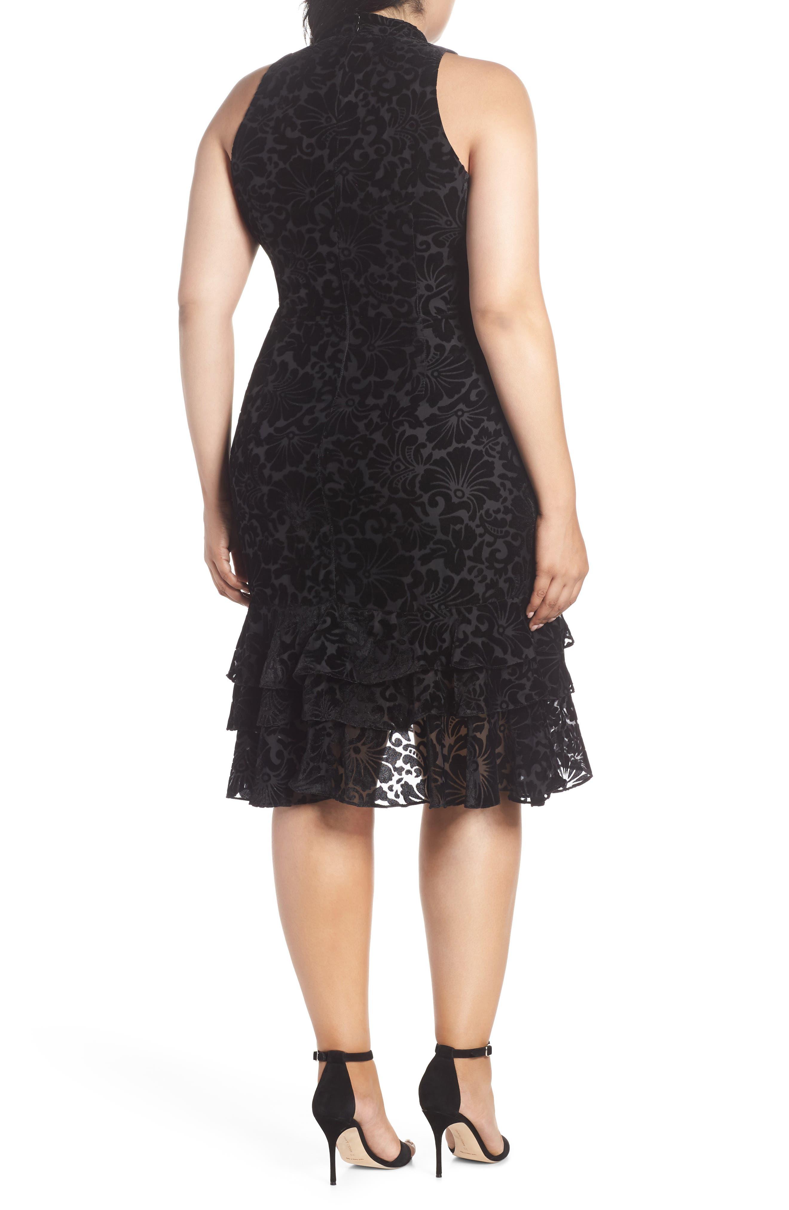 CHELSEA28,                             Burnout Velvet Sheath Dress,                             Alternate thumbnail 2, color,                             001