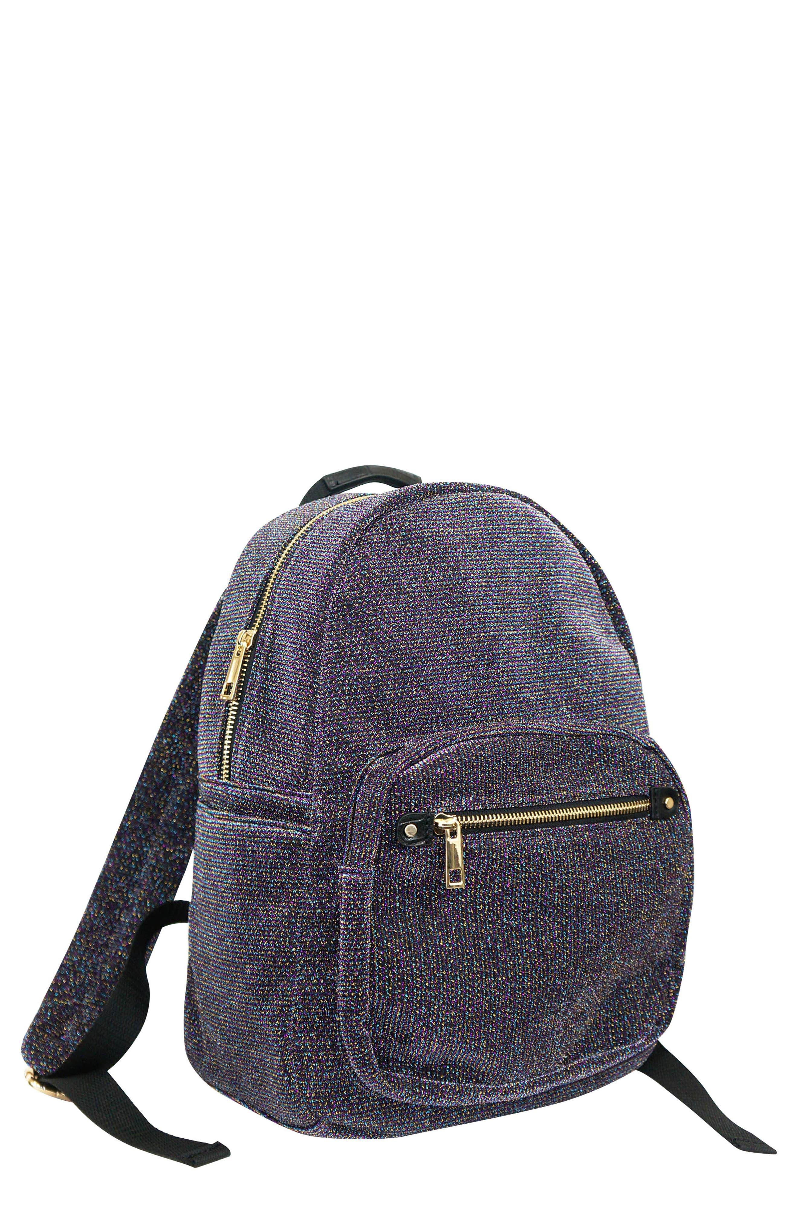 Mini Metallic Backpack,                             Main thumbnail 1, color,                             PURPLE MULTI