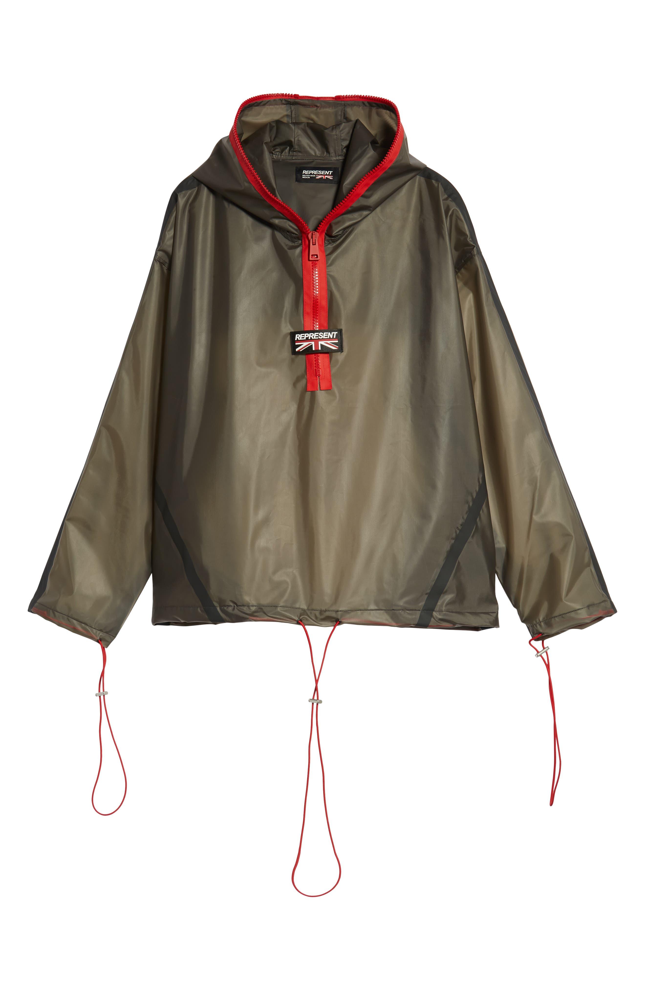 Rubber Half Zip Rain Jacket,                             Alternate thumbnail 6, color,                             BLACK