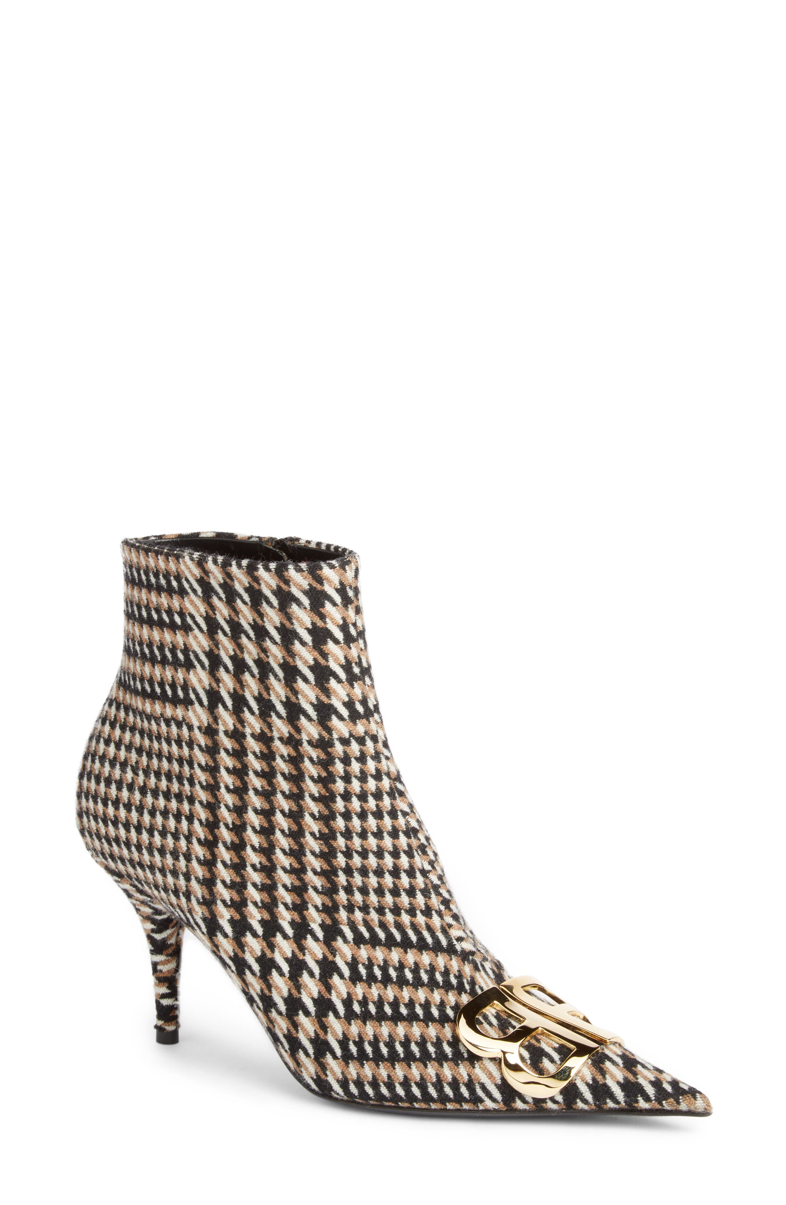 BB Pointy Toe Bootie,                             Main thumbnail 1, color,                             BLACK/ WHITE/ CAMEL