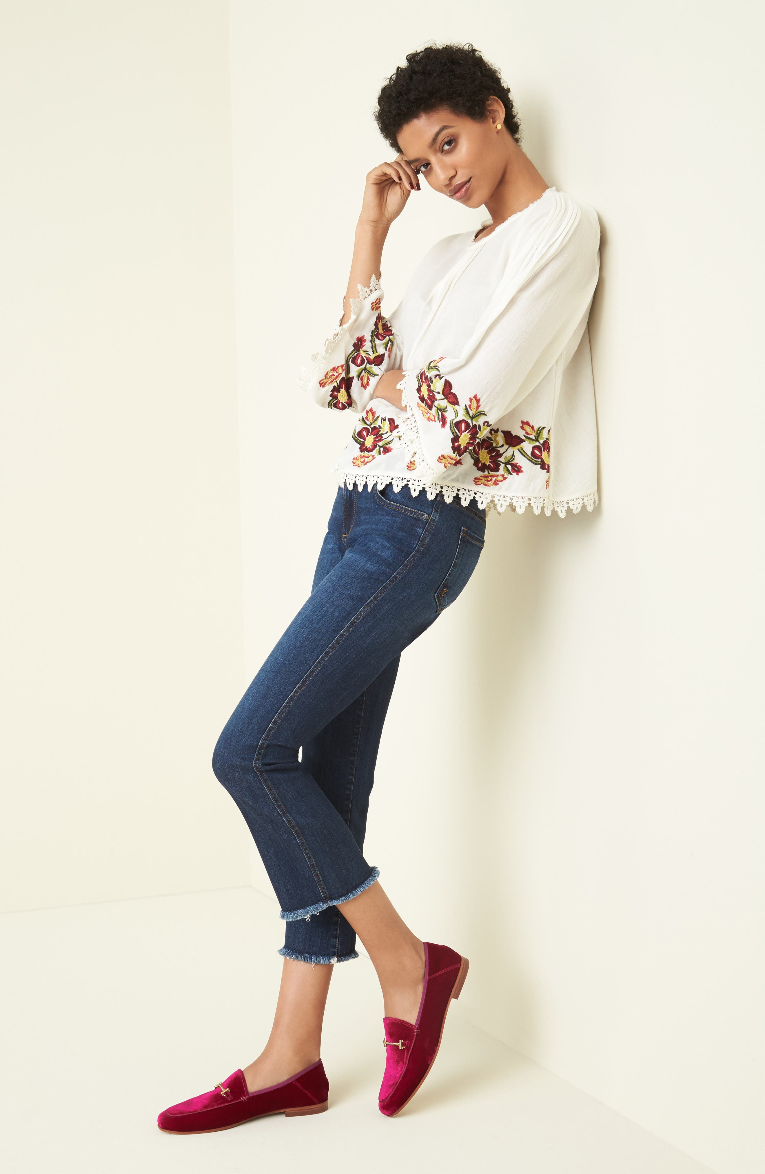 Embroidered Swing Blouse,                             Alternate thumbnail 8, color,                             902