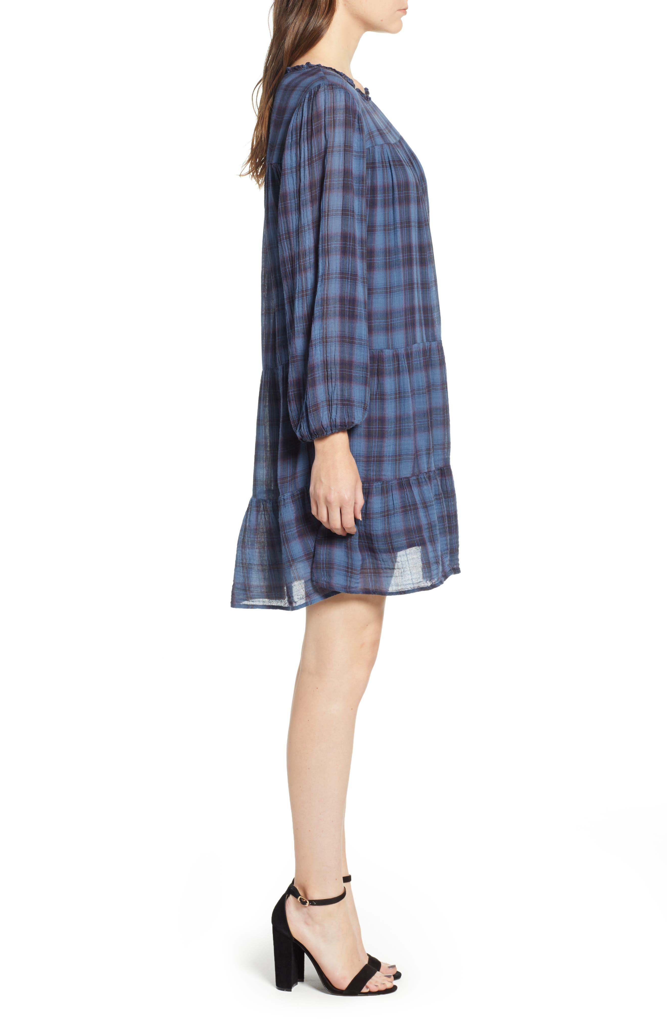 Soft Tiered Plaid Cotton Shift Dress,                             Alternate thumbnail 3, color,                             437