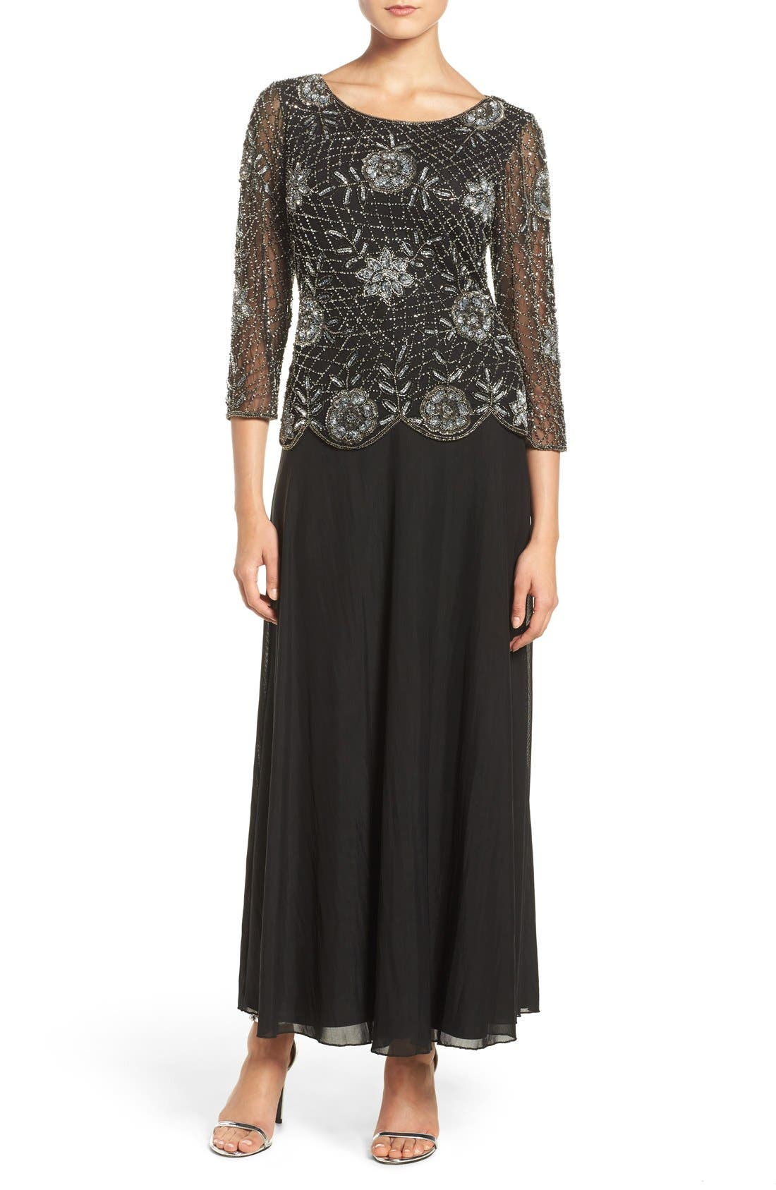 Embellished Mesh Gown,                             Main thumbnail 1, color,                             013