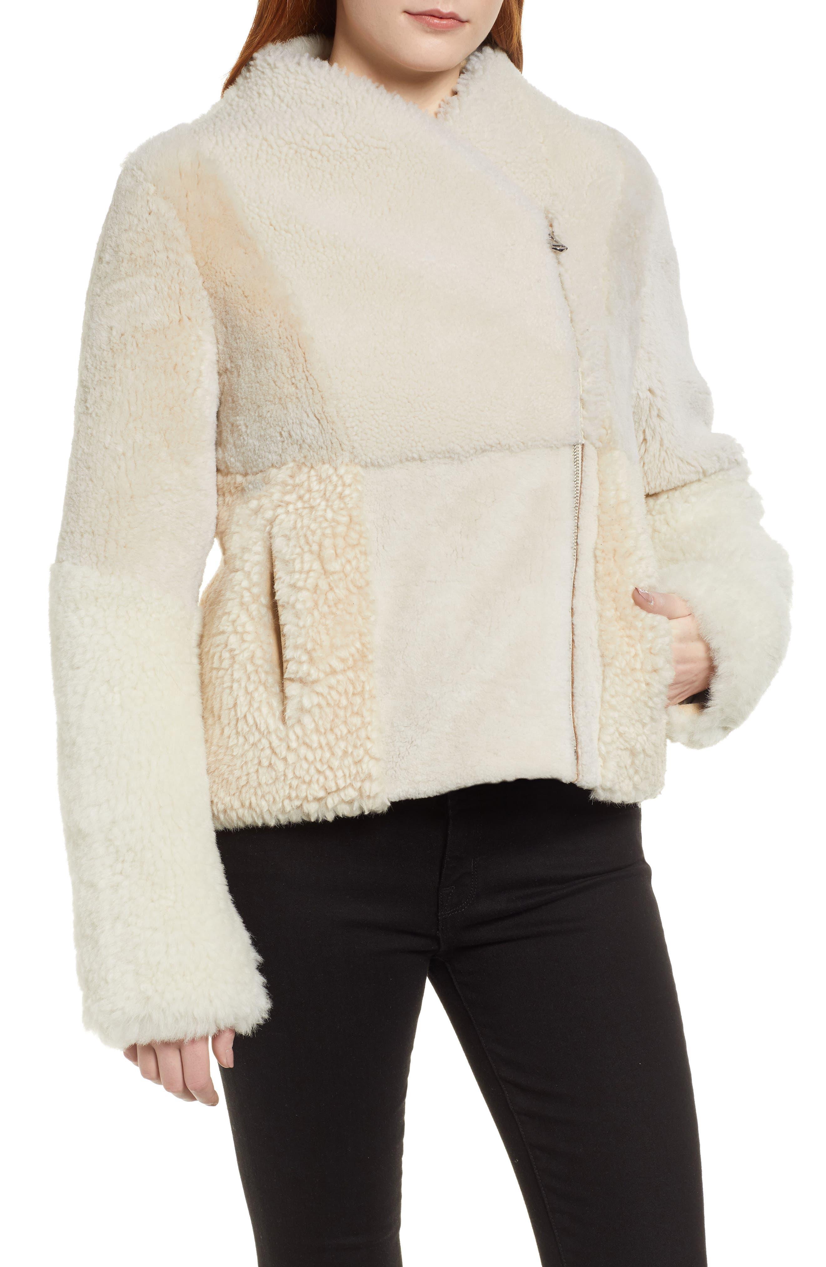 Patchwork Genuine Shearling Jacket,                             Alternate thumbnail 4, color,                             CREAM
