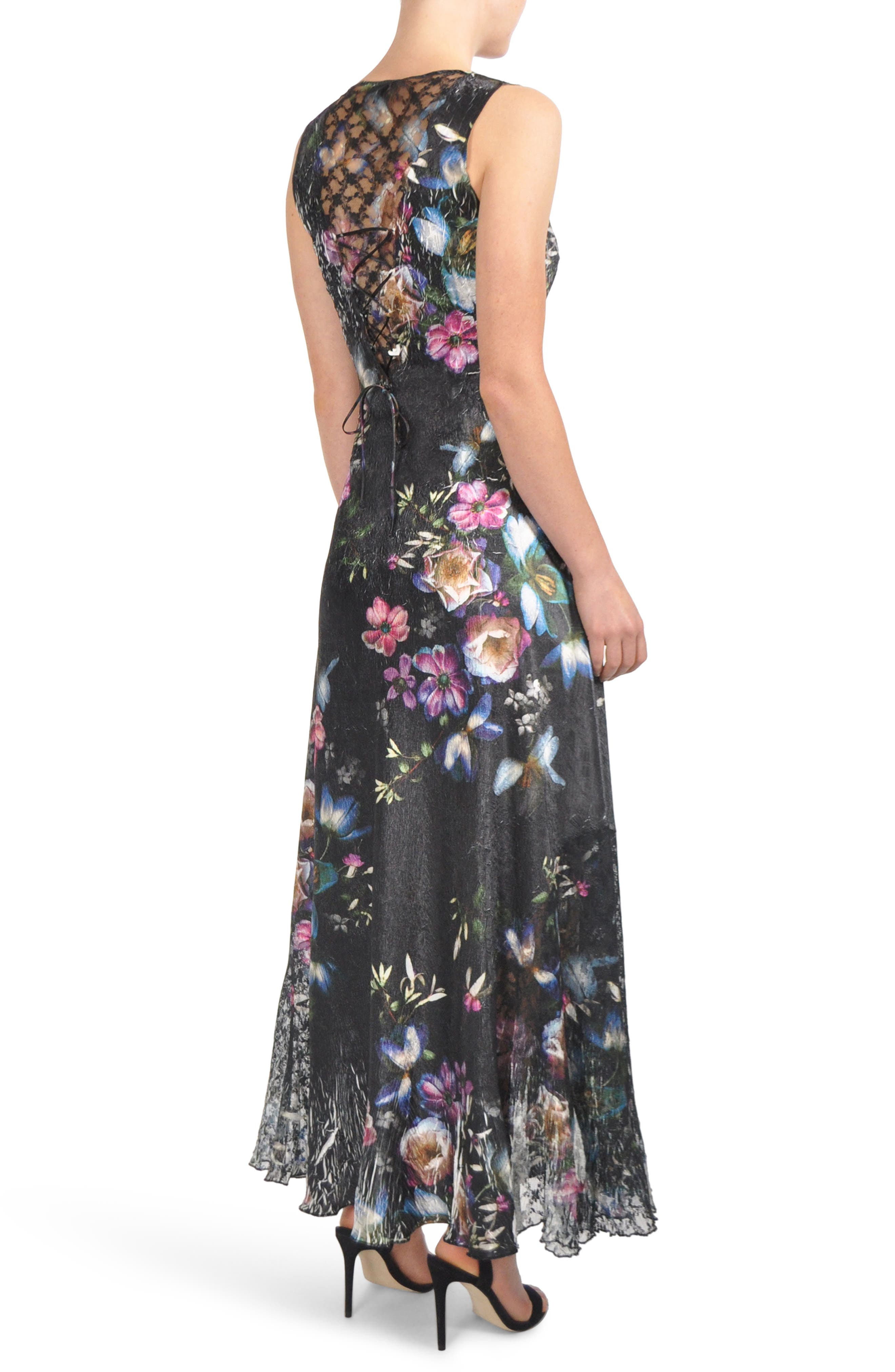 Floral Print Lace-Up Gown,                             Alternate thumbnail 2, color,                             VEILED GARDEN
