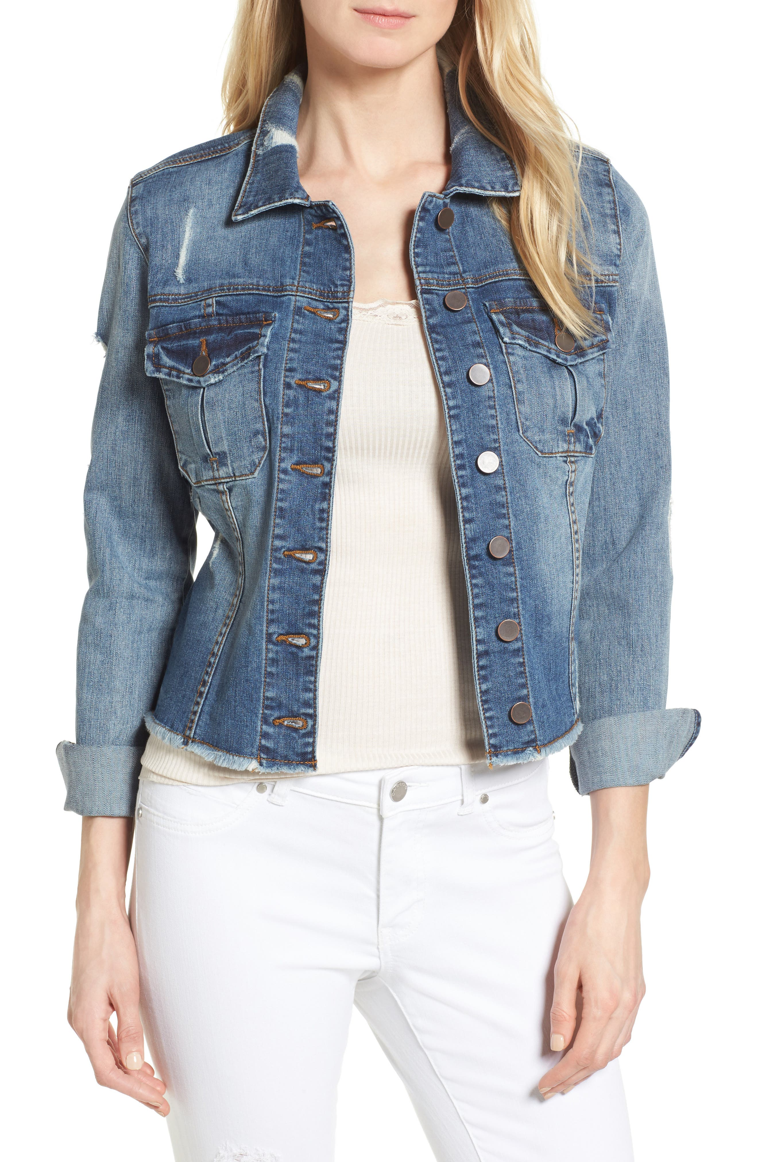 Kara Ripped Denim Jacket,                             Main thumbnail 1, color,                             401
