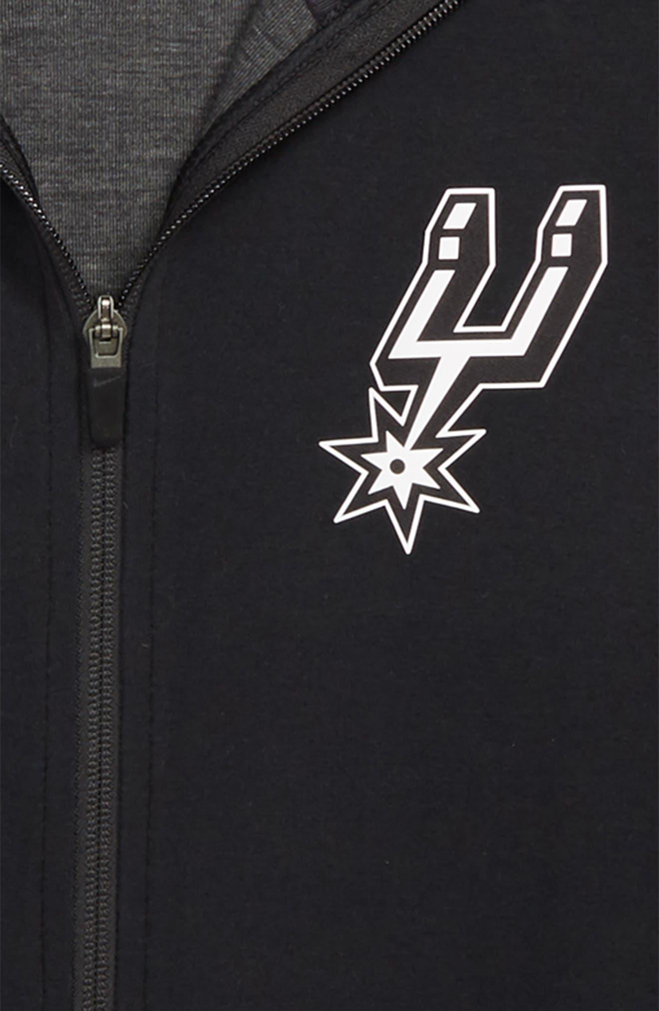 San Antonio Spurs Showtime Dri-FIT Hoodie,                             Alternate thumbnail 2, color,                             BLACK