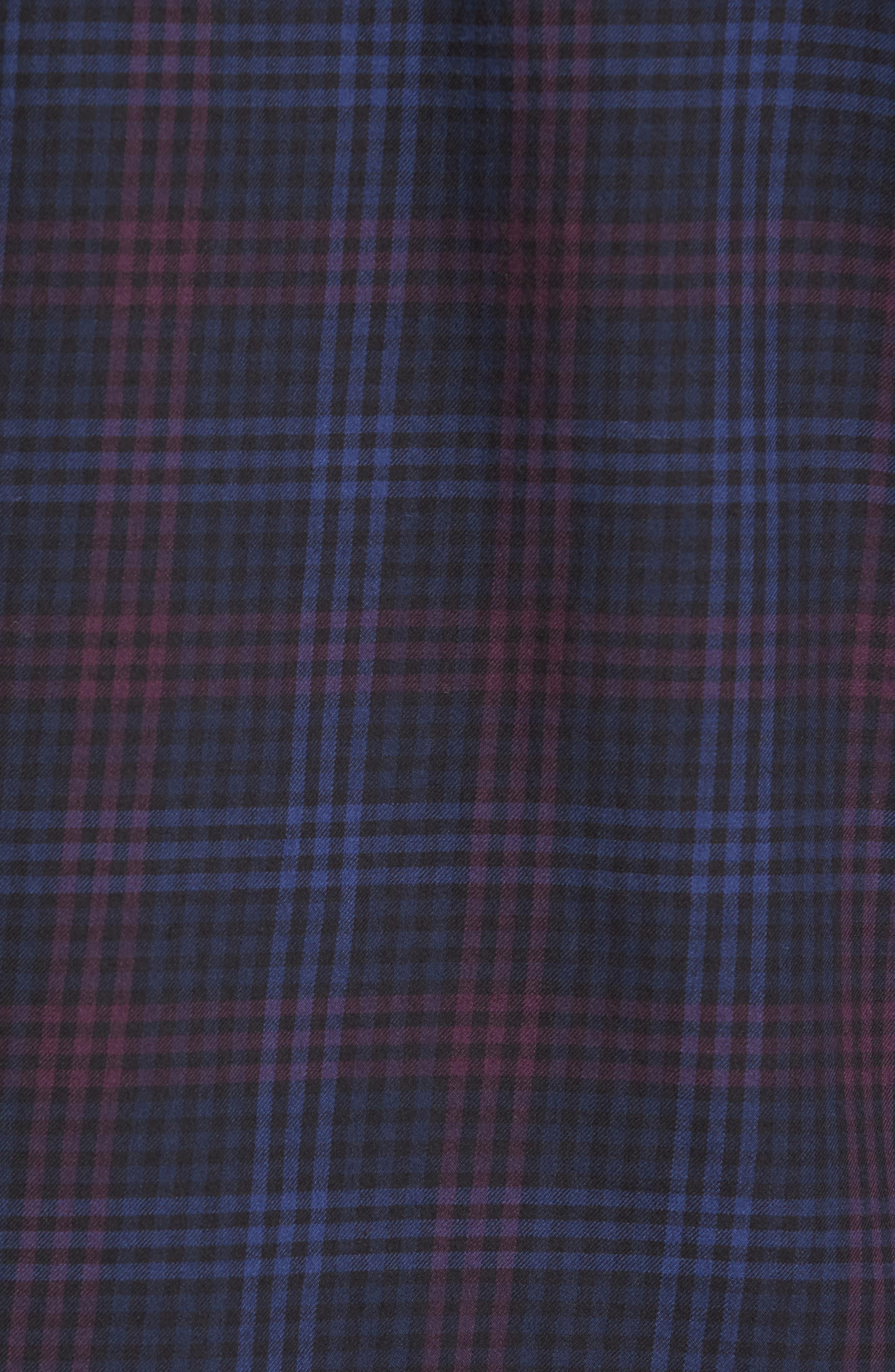 Trim Fit Plaid Flannel Sport Shirt,                             Alternate thumbnail 5, color,                             410