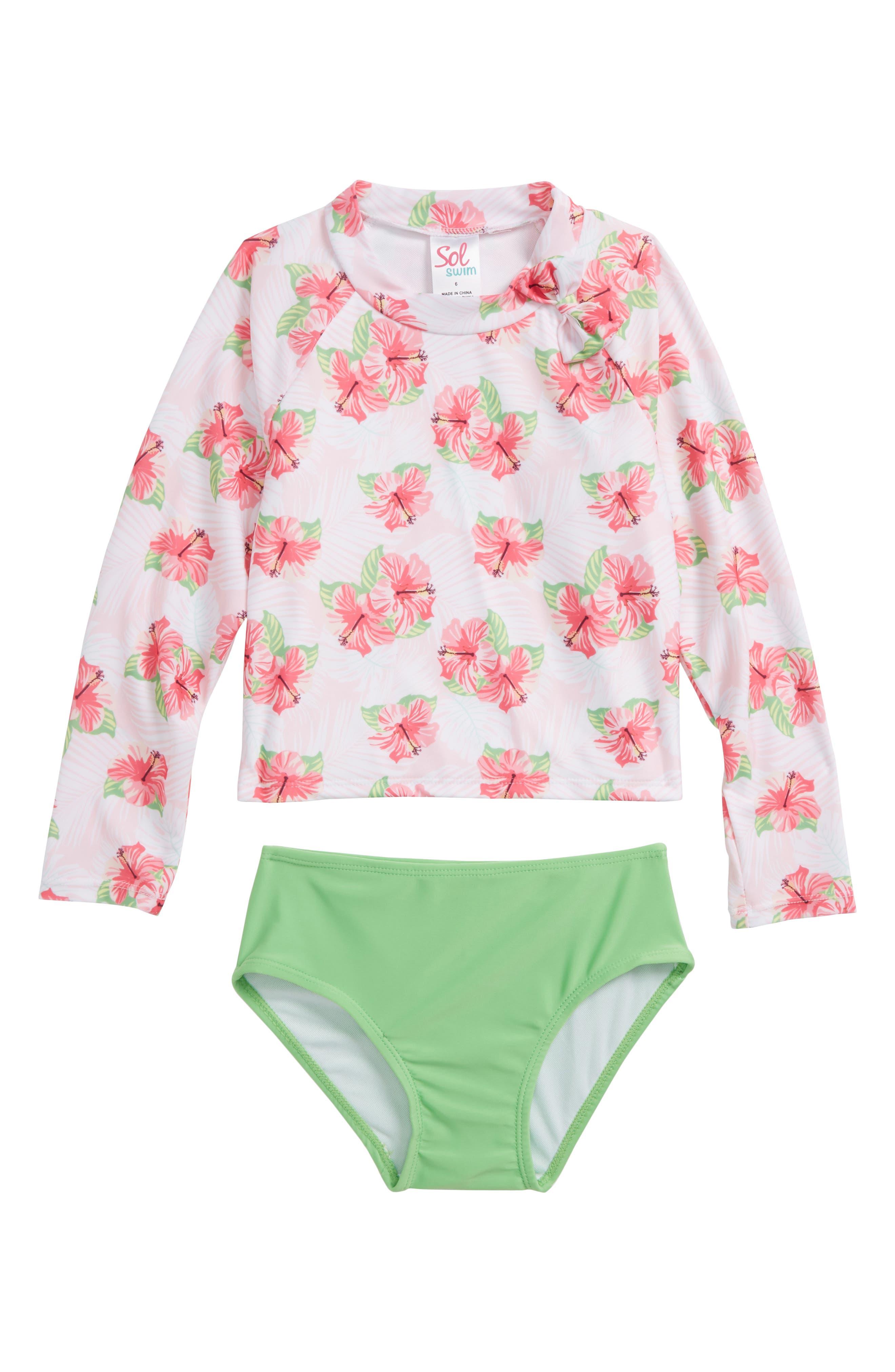 Hibiscus Splash Two-Piece Rashguard Swimsuit,                             Main thumbnail 1, color,                             659