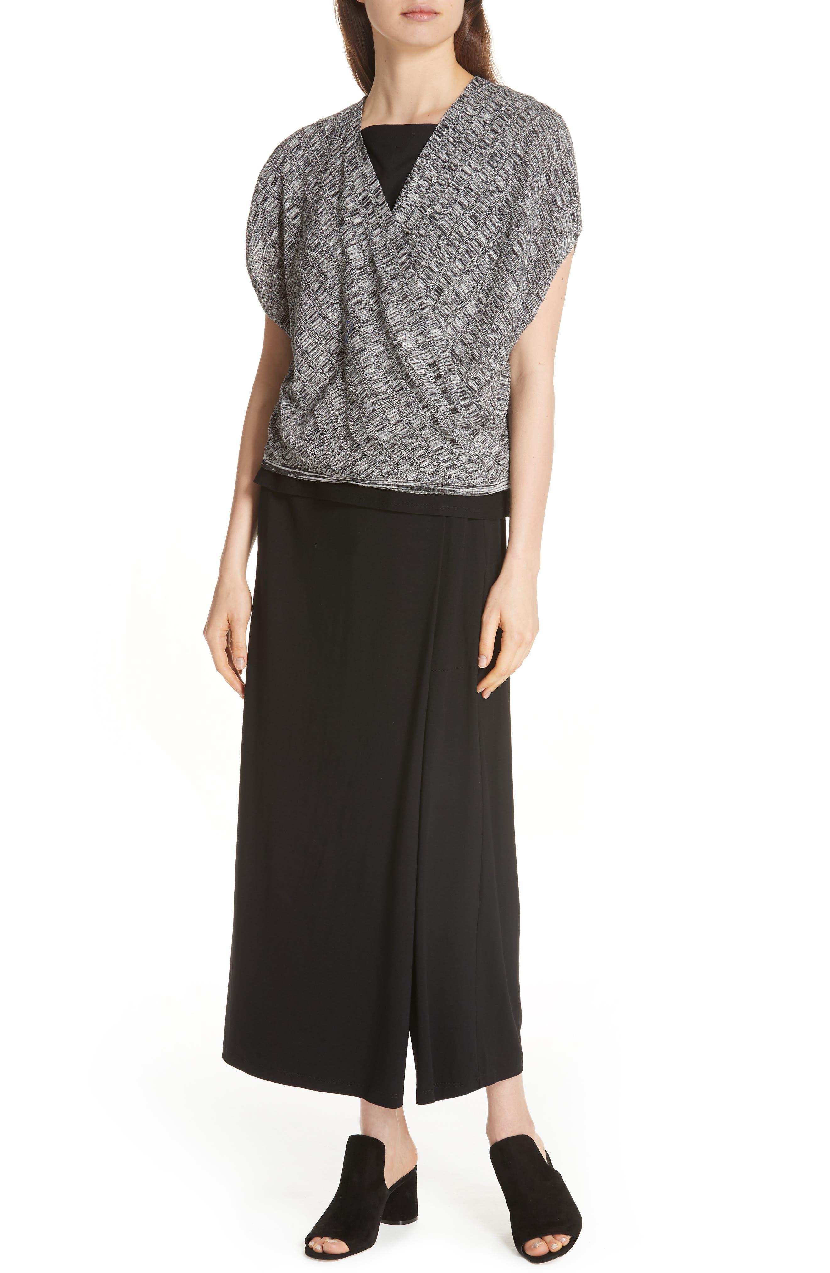 Faux Wrap Ankle Pants,                         Main,                         color, BLACK