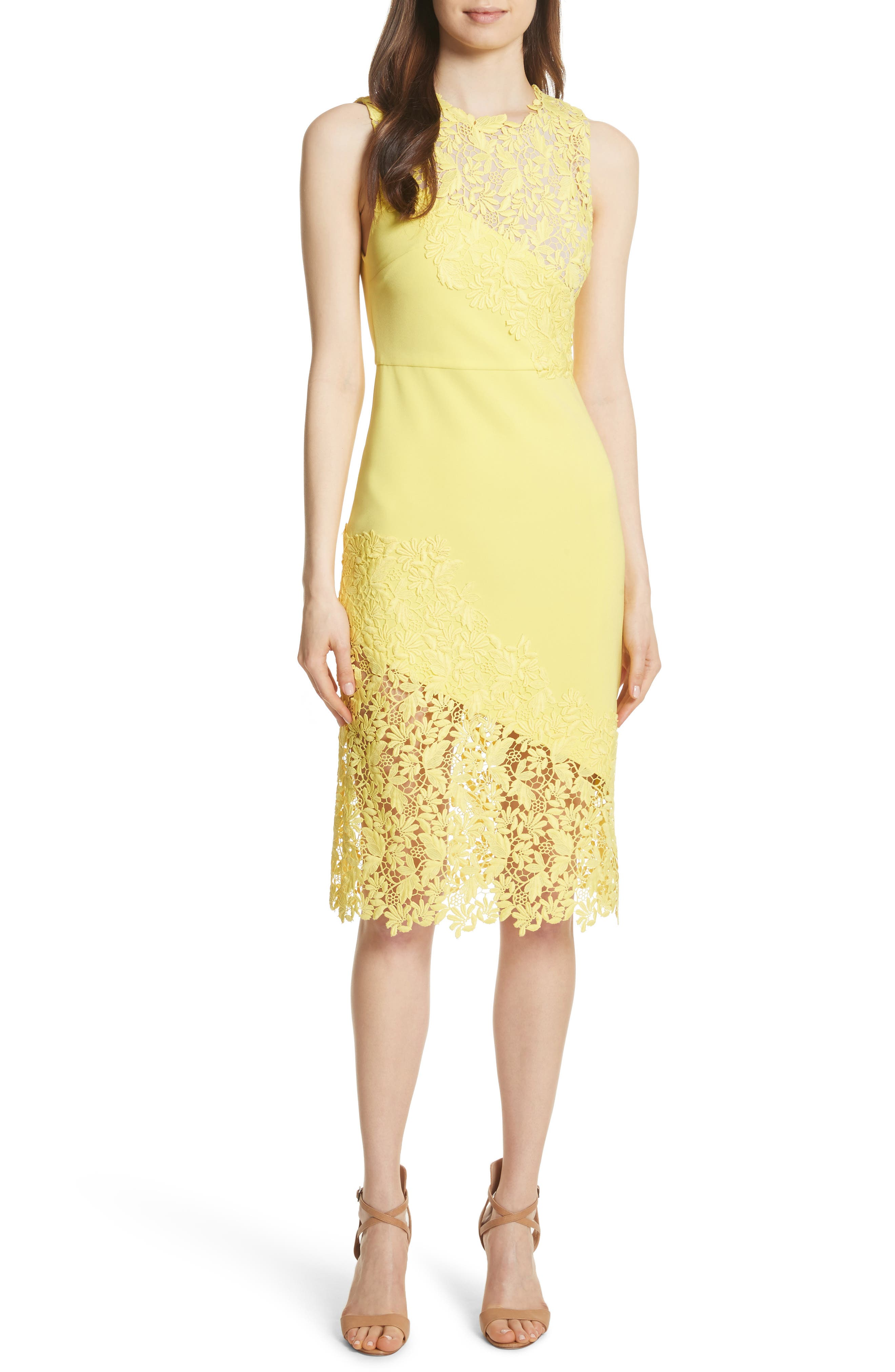 Margy Lace Overlay Body-Con Dress,                             Alternate thumbnail 5, color,                             703