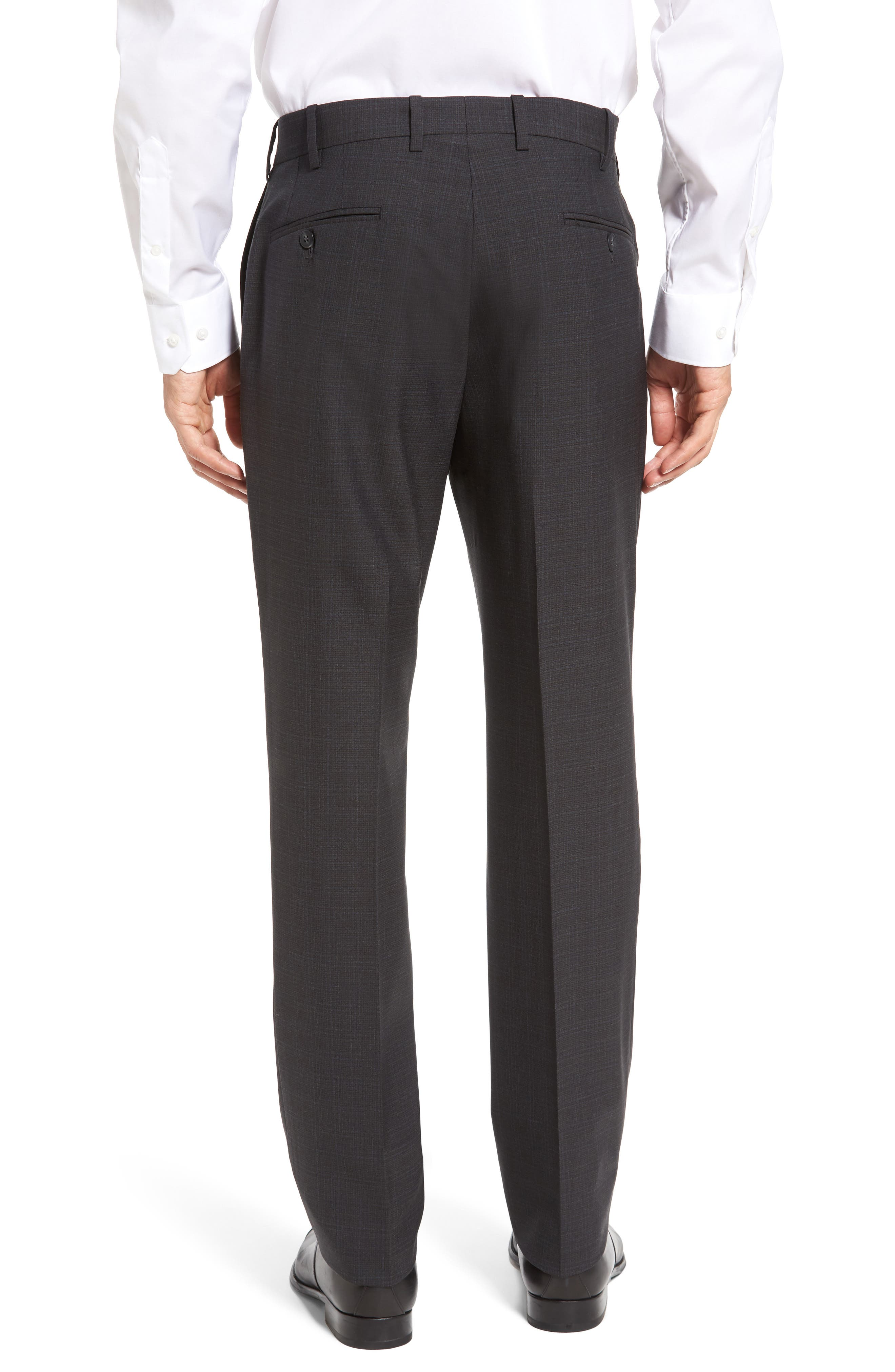Flat Front Plaid Wool Trousers,                             Alternate thumbnail 7, color,