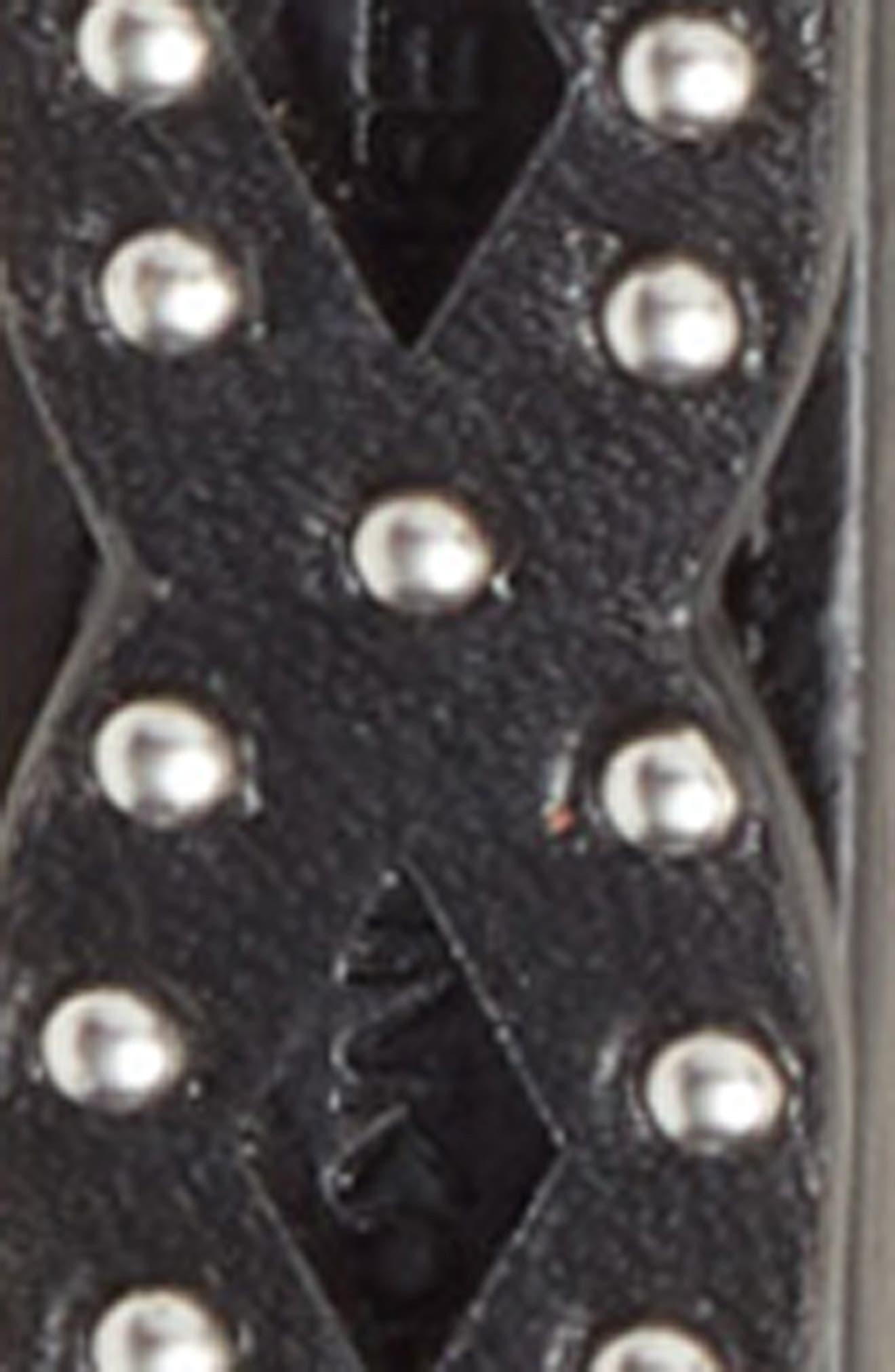 Studded Leather Belt,                             Alternate thumbnail 3, color,                             BLACK