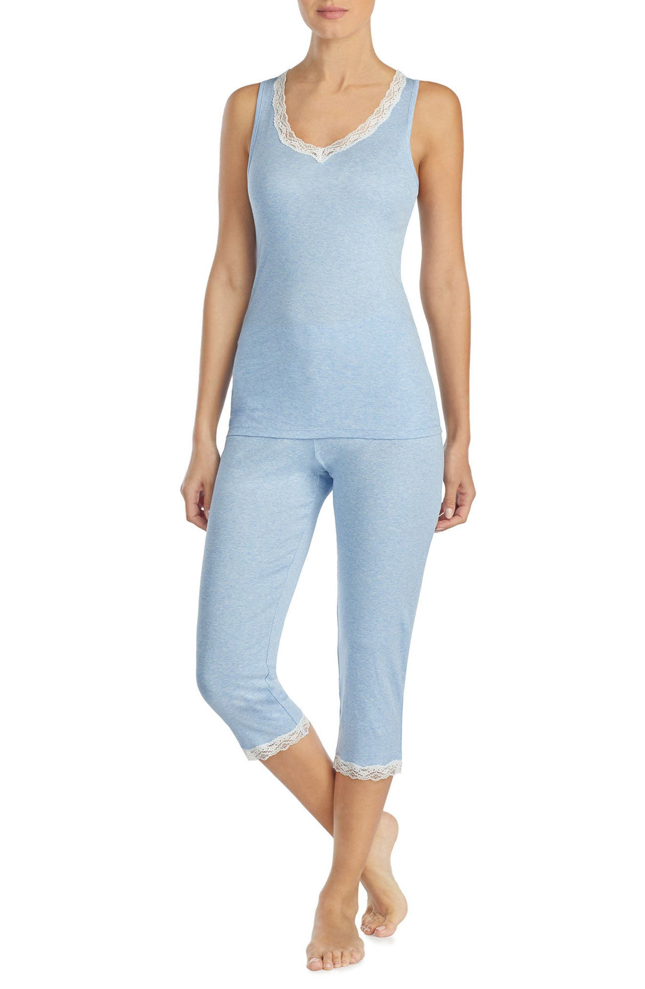 Lace Trim Capri Pajamas,                             Main thumbnail 1, color,                             427