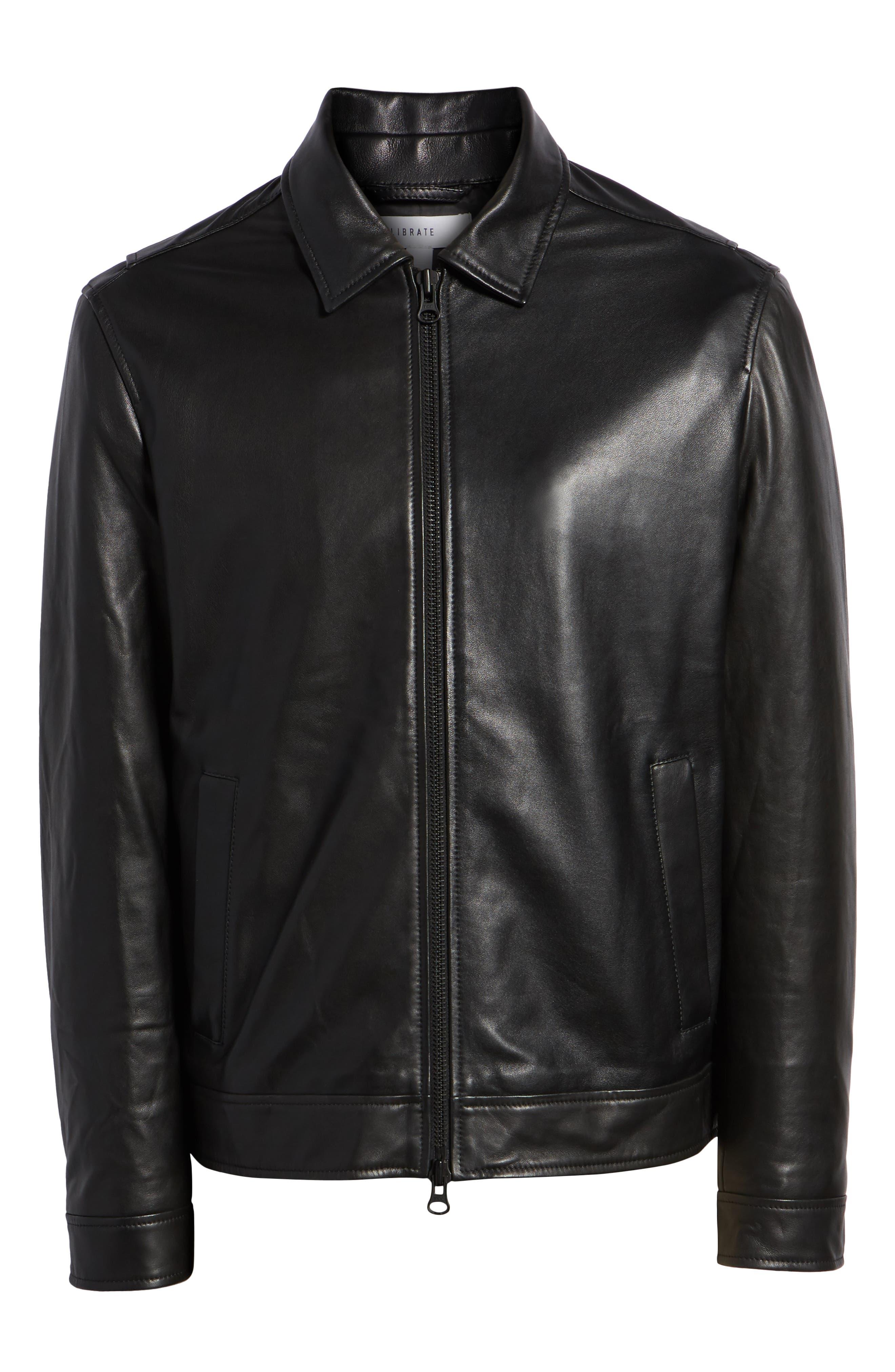 Leather Jacket,                             Alternate thumbnail 6, color,                             BLACK