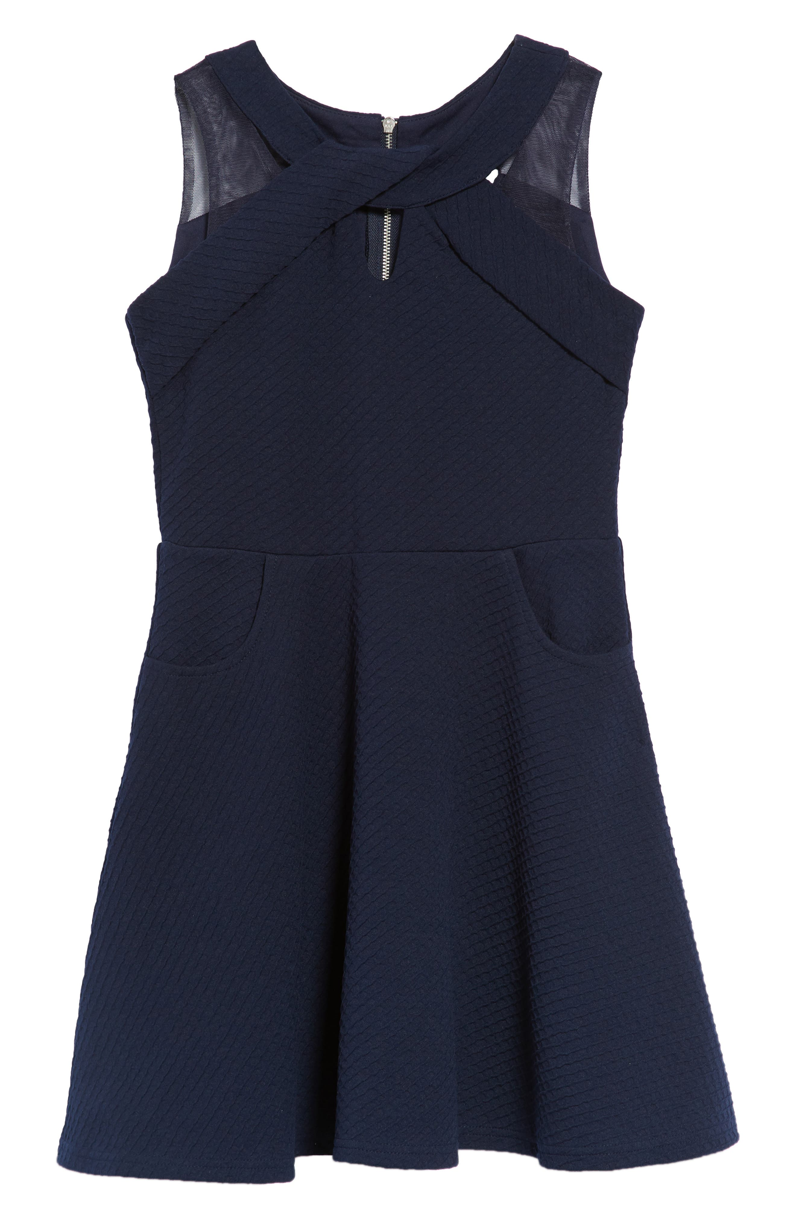 Textured Knit Fit & Flare Dress,                             Main thumbnail 1, color,