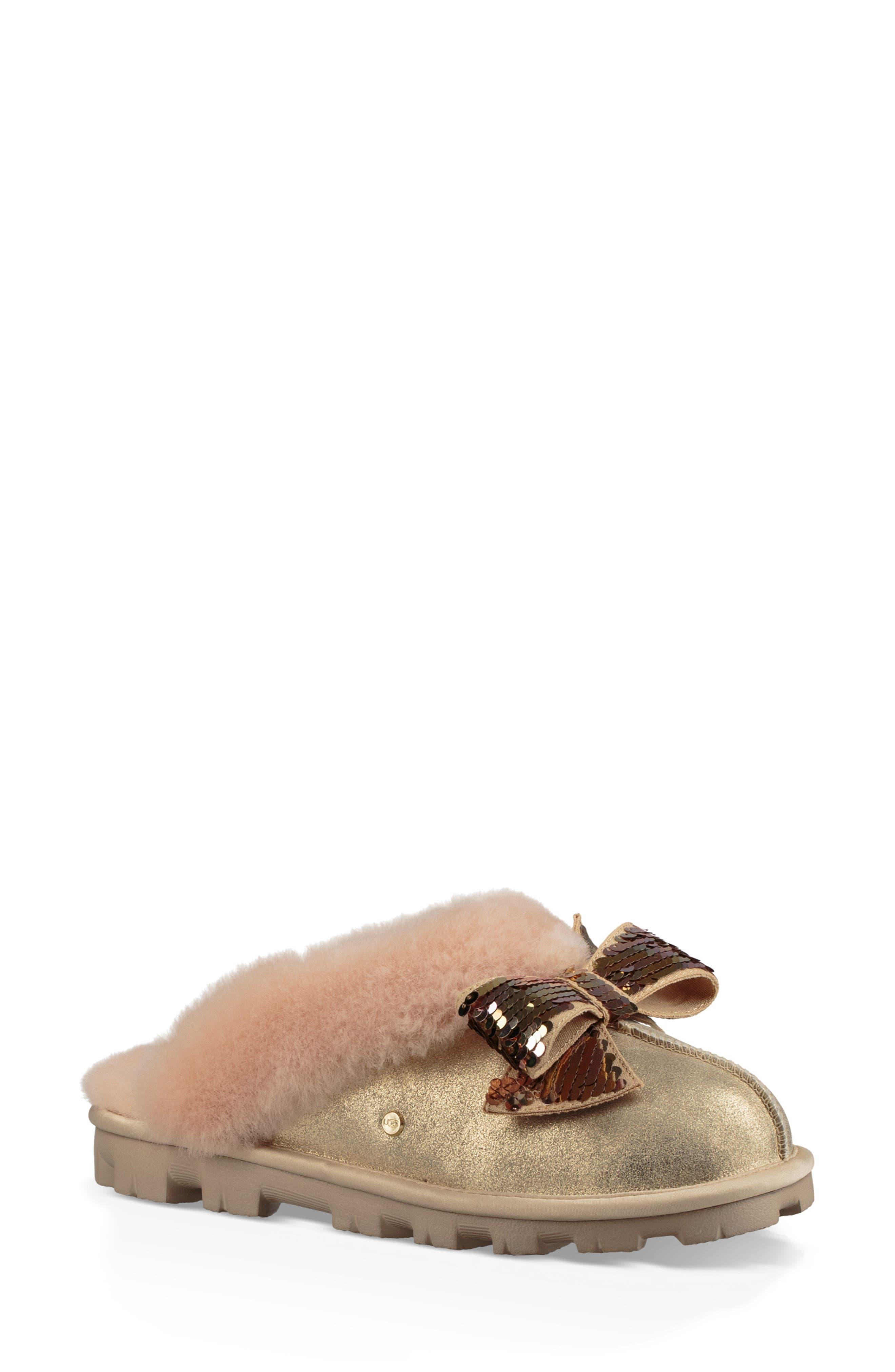 Ugg Genuine Shearling & Sequin Bow Slipper