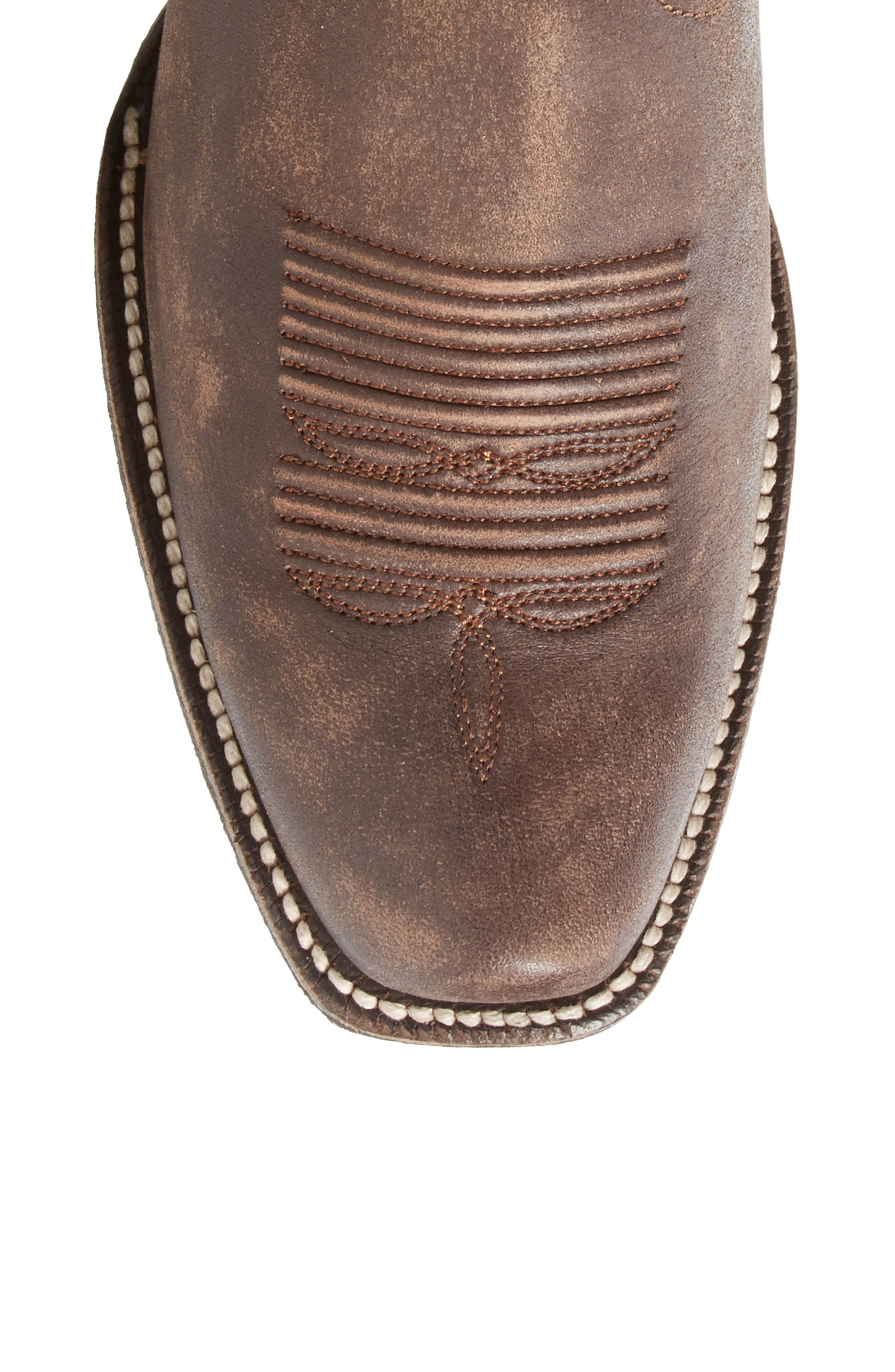 Leyton Fringe Western Boot,                             Alternate thumbnail 5, color,                             TACK ROOM CHOCOLATE LEATHER