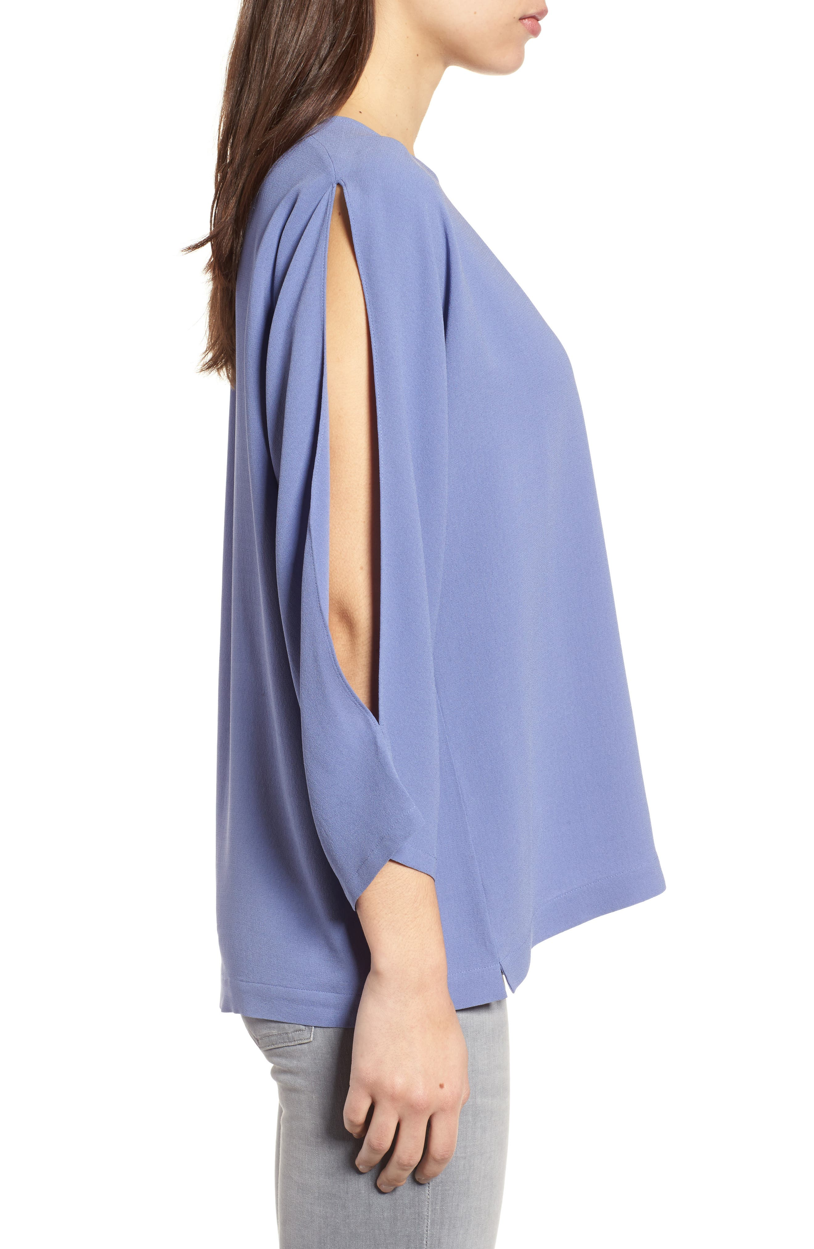 Slit Sleeve Silk Top,                             Alternate thumbnail 9, color,