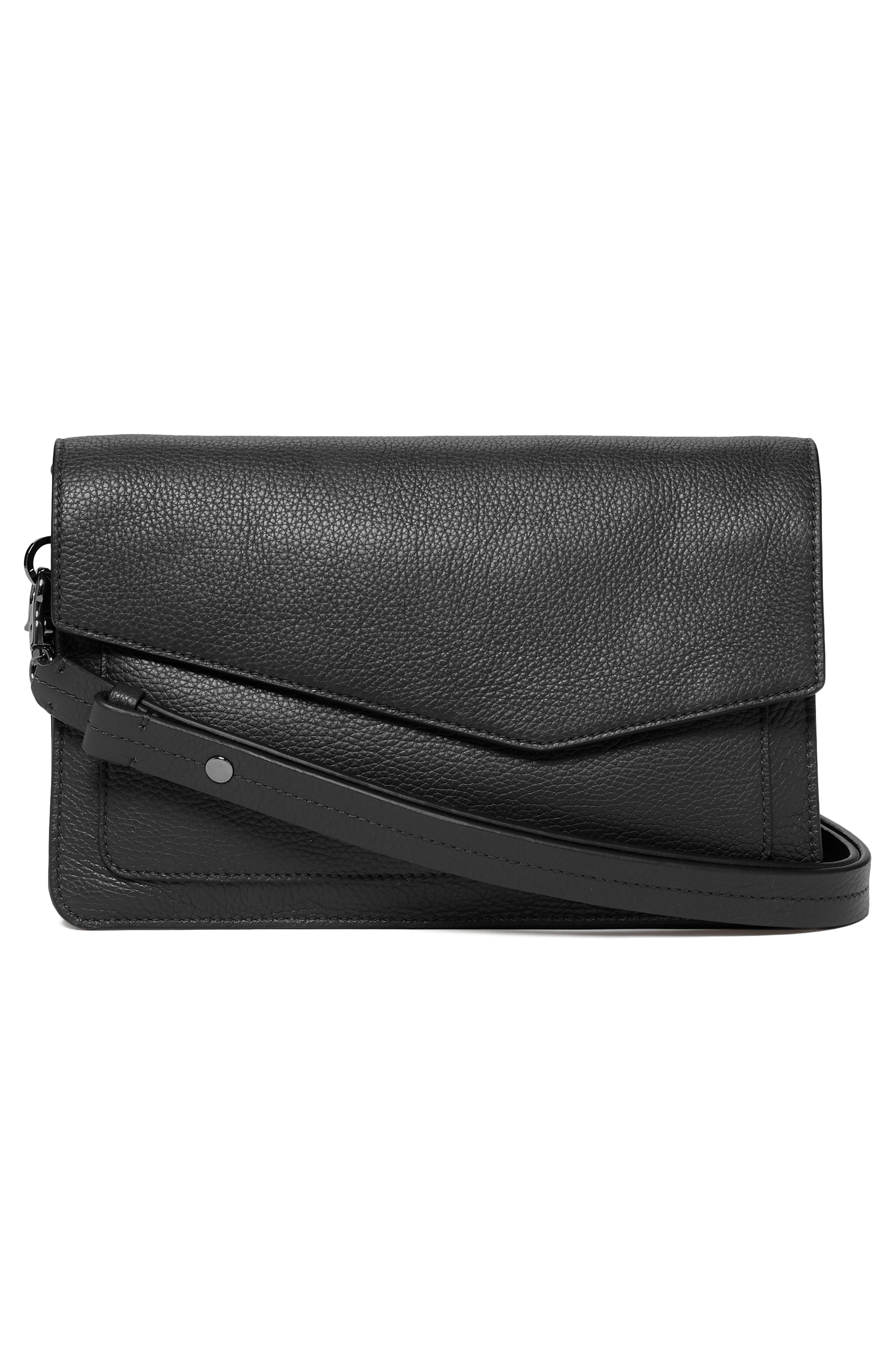 Cobble Hill Leather Shoulder Bag,                             Alternate thumbnail 4, color,                             BLACK