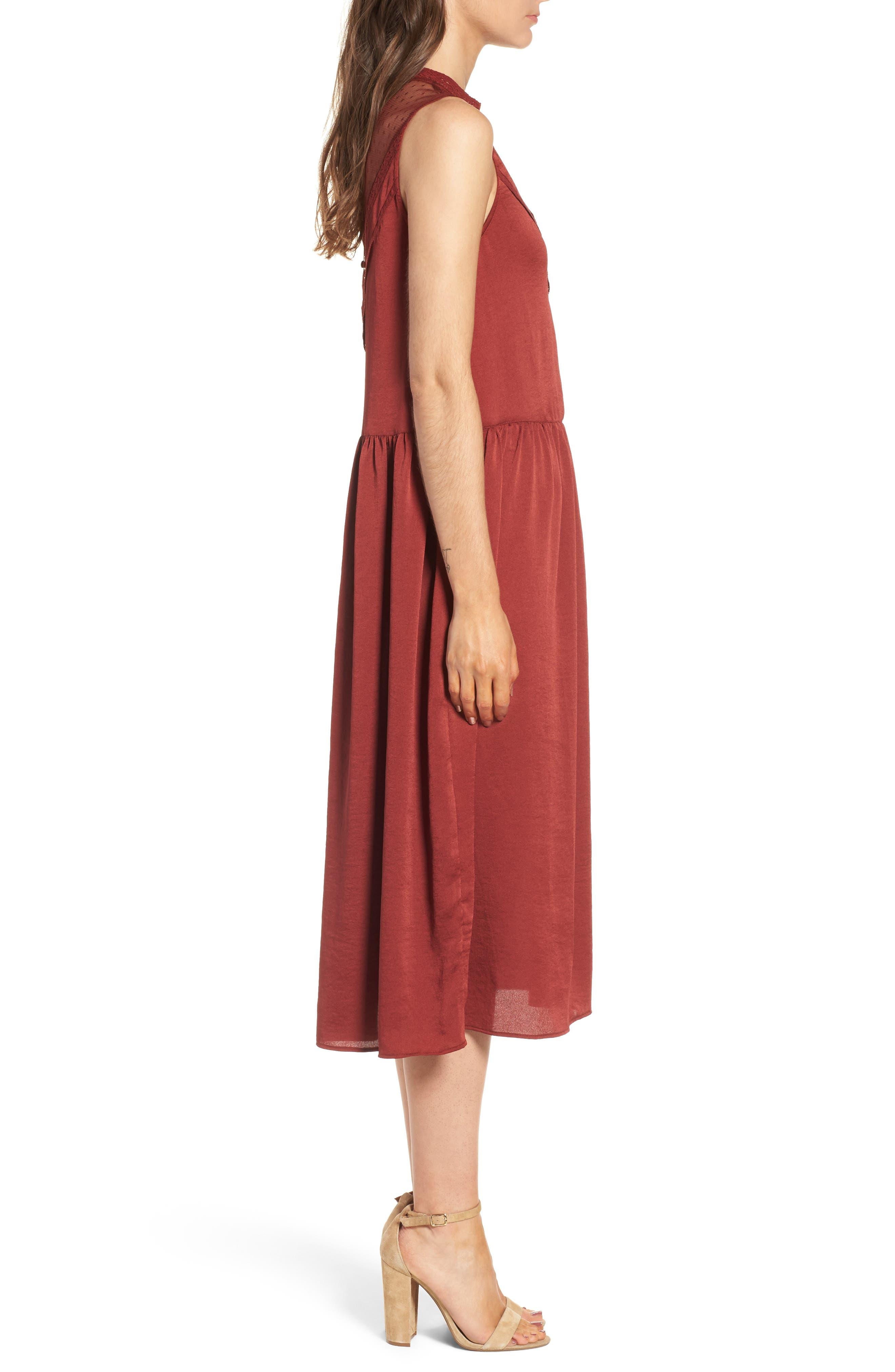 Mesh Panel Midi Dress,                             Alternate thumbnail 6, color,