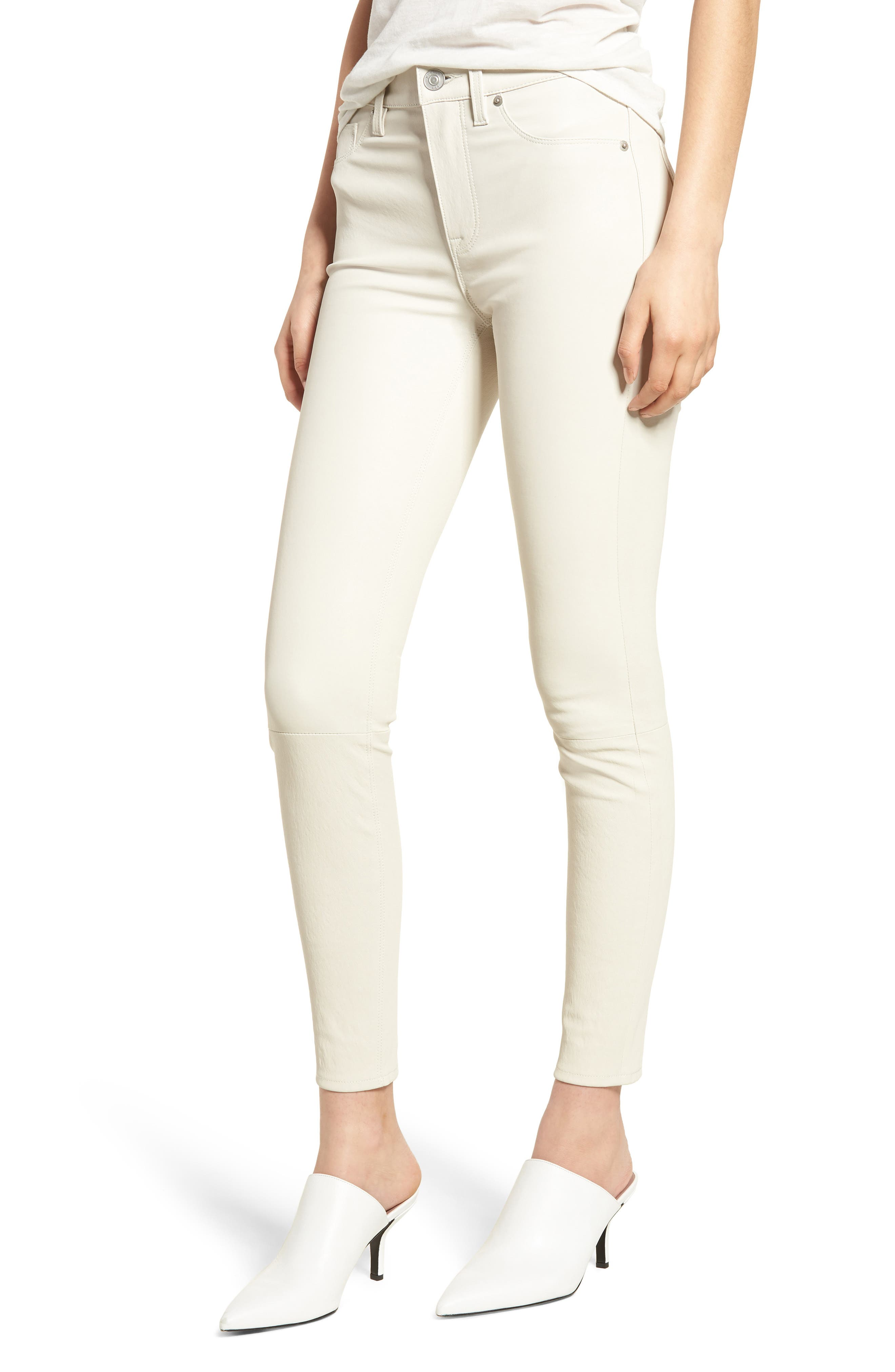 Barbara High Waist Super Skinny Leather Jeans,                             Main thumbnail 1, color,                             PALE WHITE