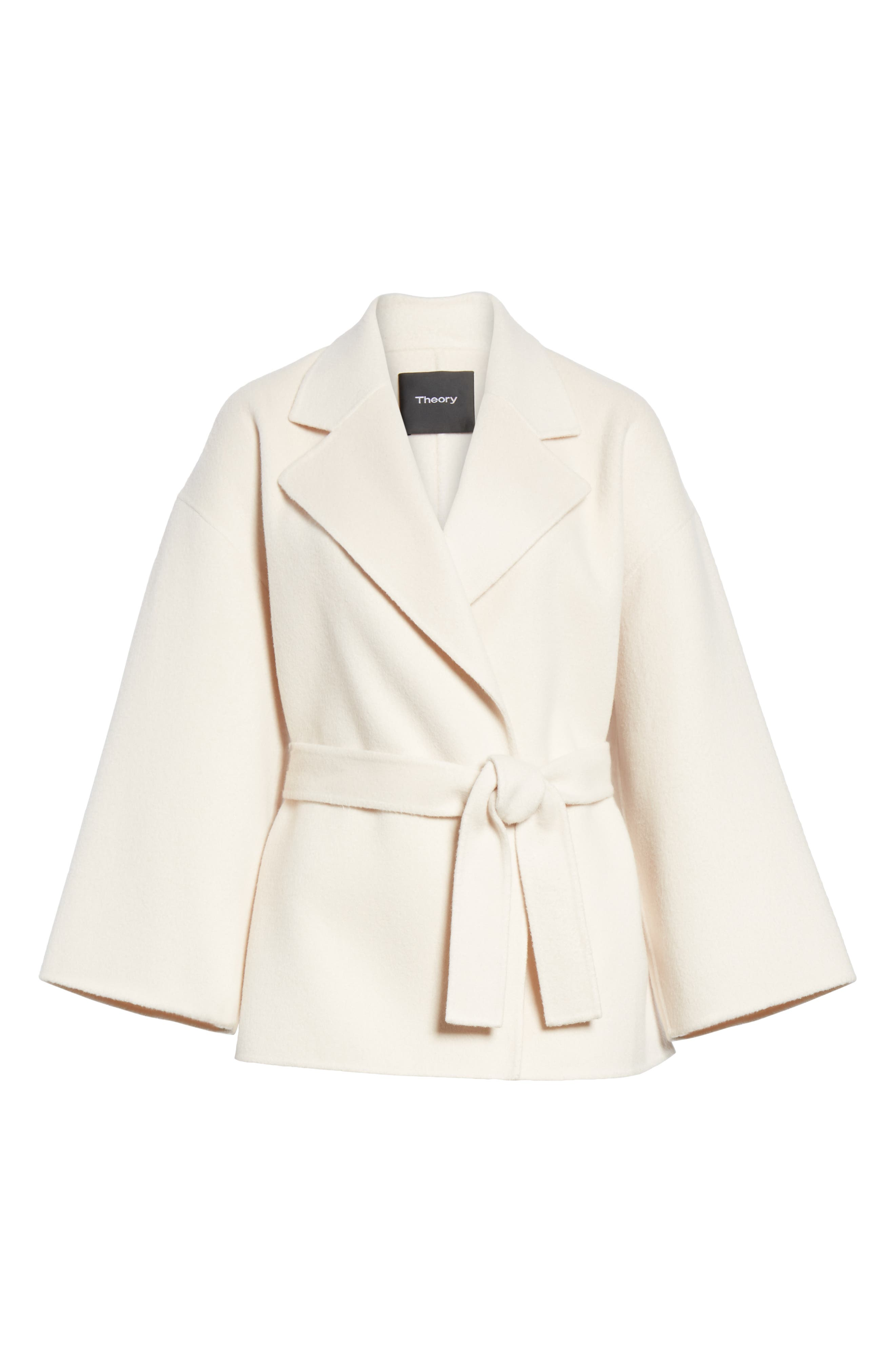 Wool & Cashmere Belted Jacket,                             Alternate thumbnail 5, color,                             BUTTERCREAM