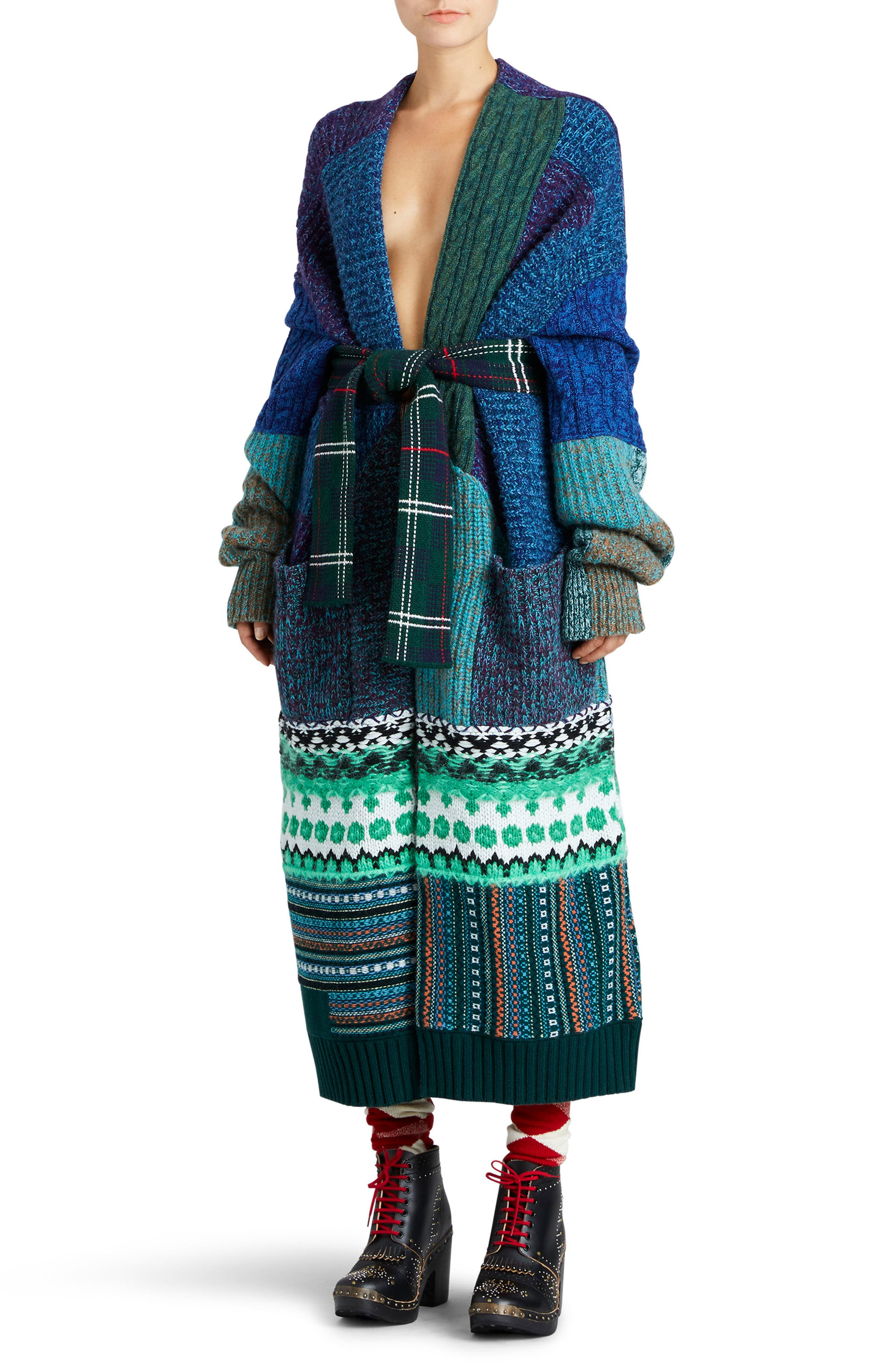 BURBERRY,                             Cashmere & Wool Blend Patchwork Cardigan,                             Main thumbnail 1, color,                             437
