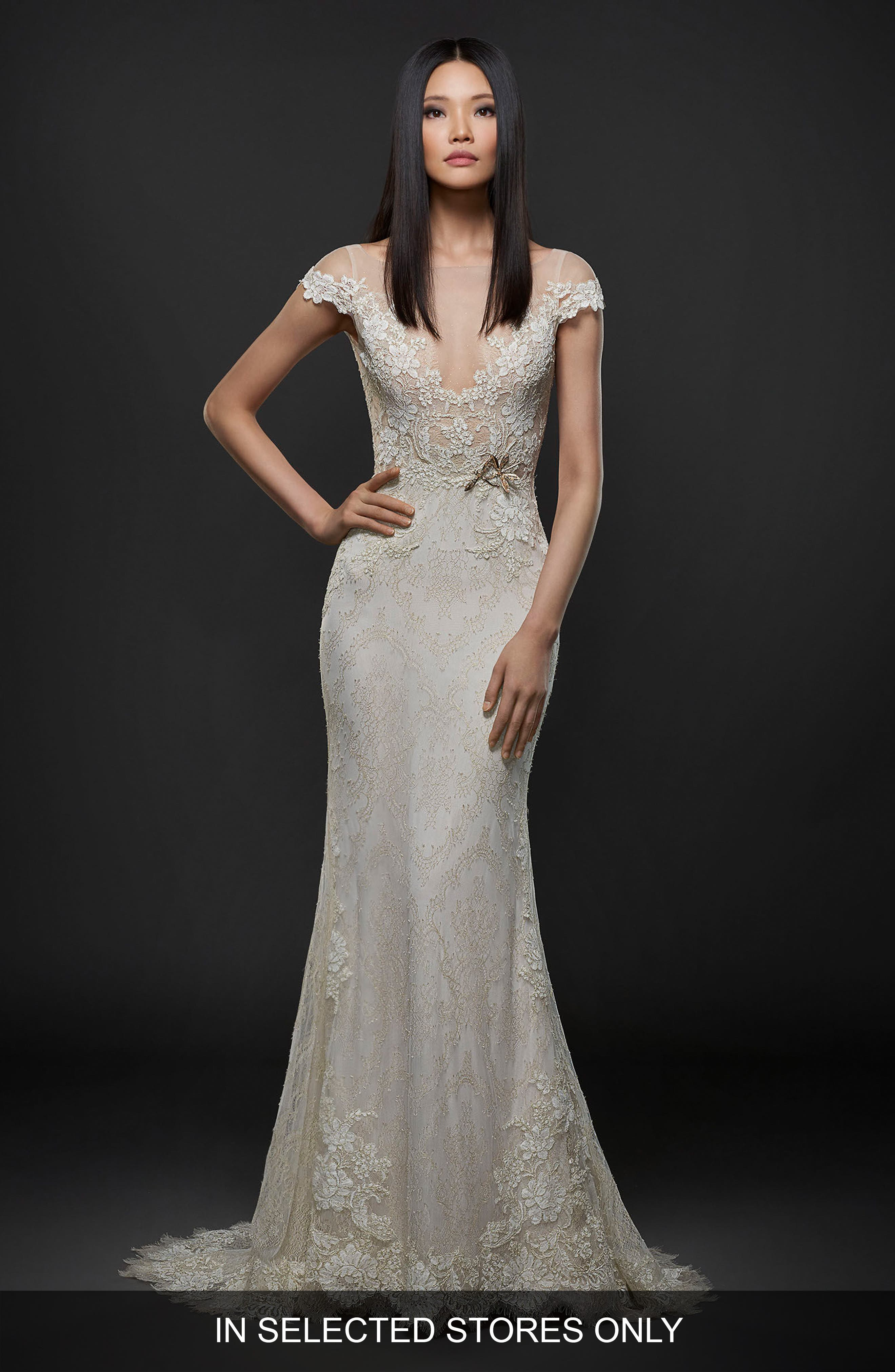 Embroidered Lace Cap Sleeve Gown,                             Main thumbnail 1, color,                             IVORY/GOLD