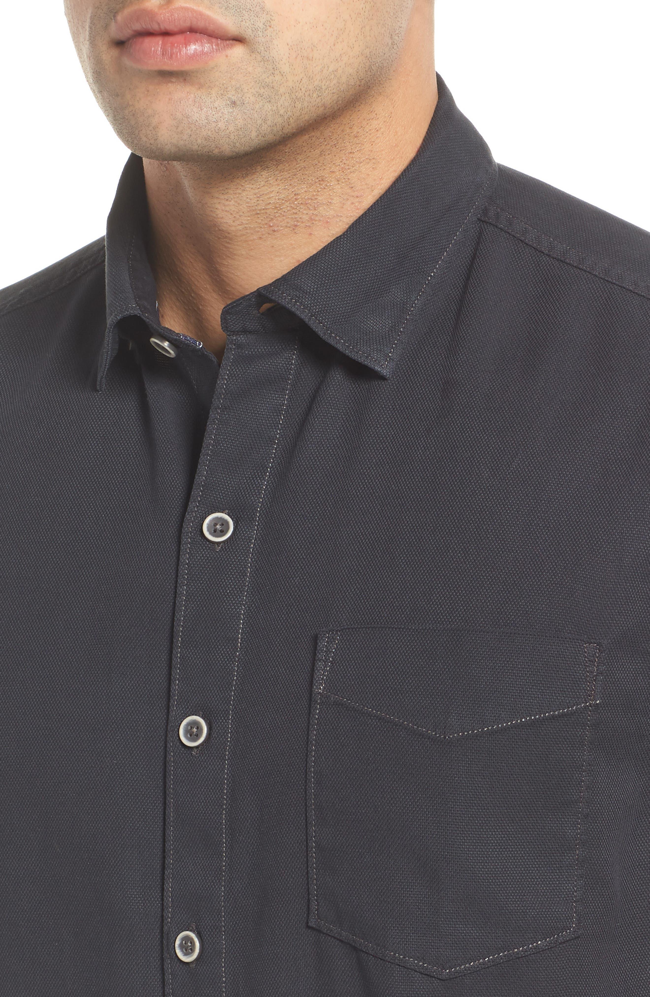 Dobby Dylan Sport Shirt,                             Alternate thumbnail 4, color,                             BLACK