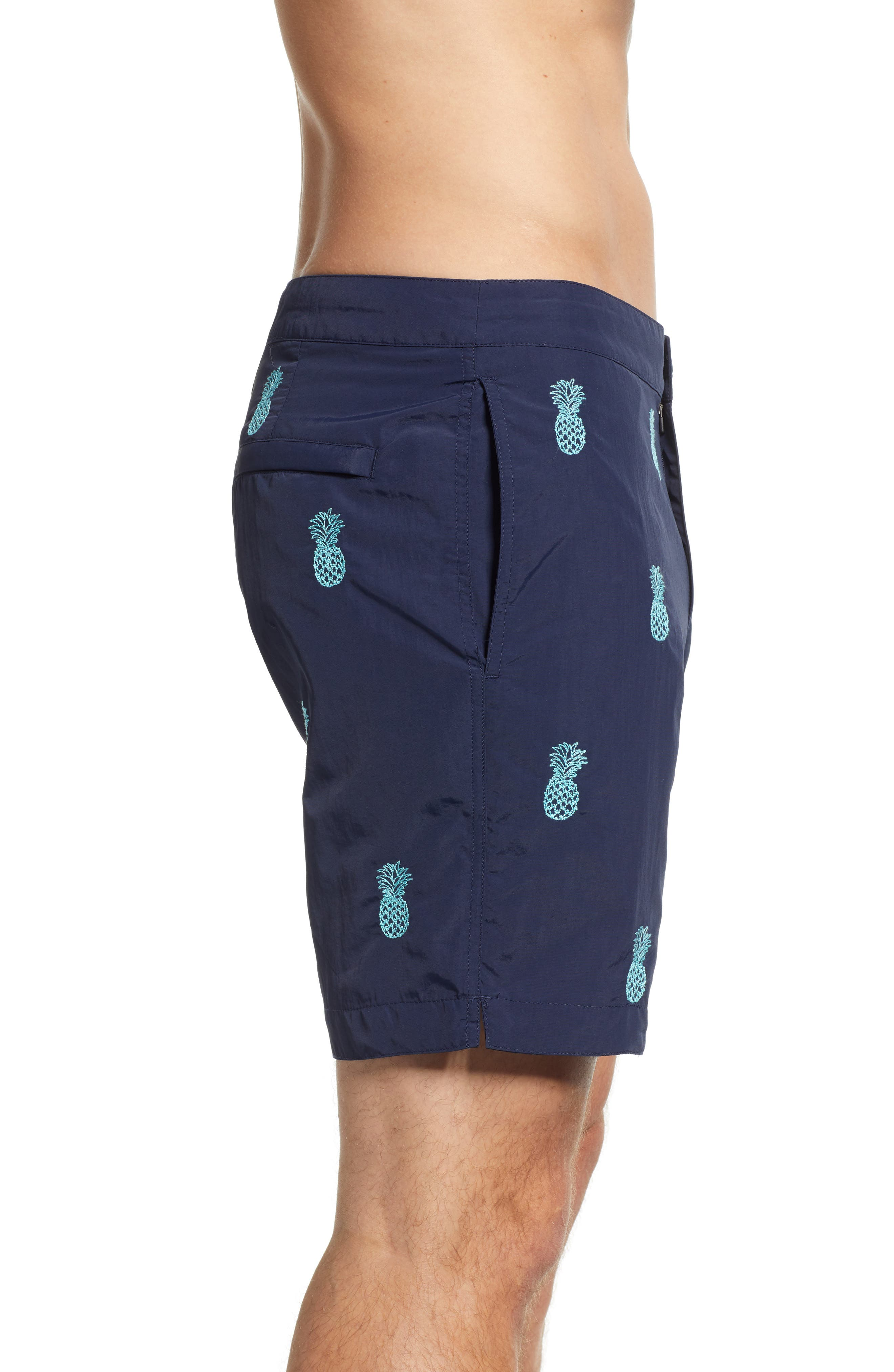 Aruba Embroidered 8.5 Inch Swim Trunks,                             Alternate thumbnail 3, color,                             NAVY EMBROIDERED PINEAPPLES