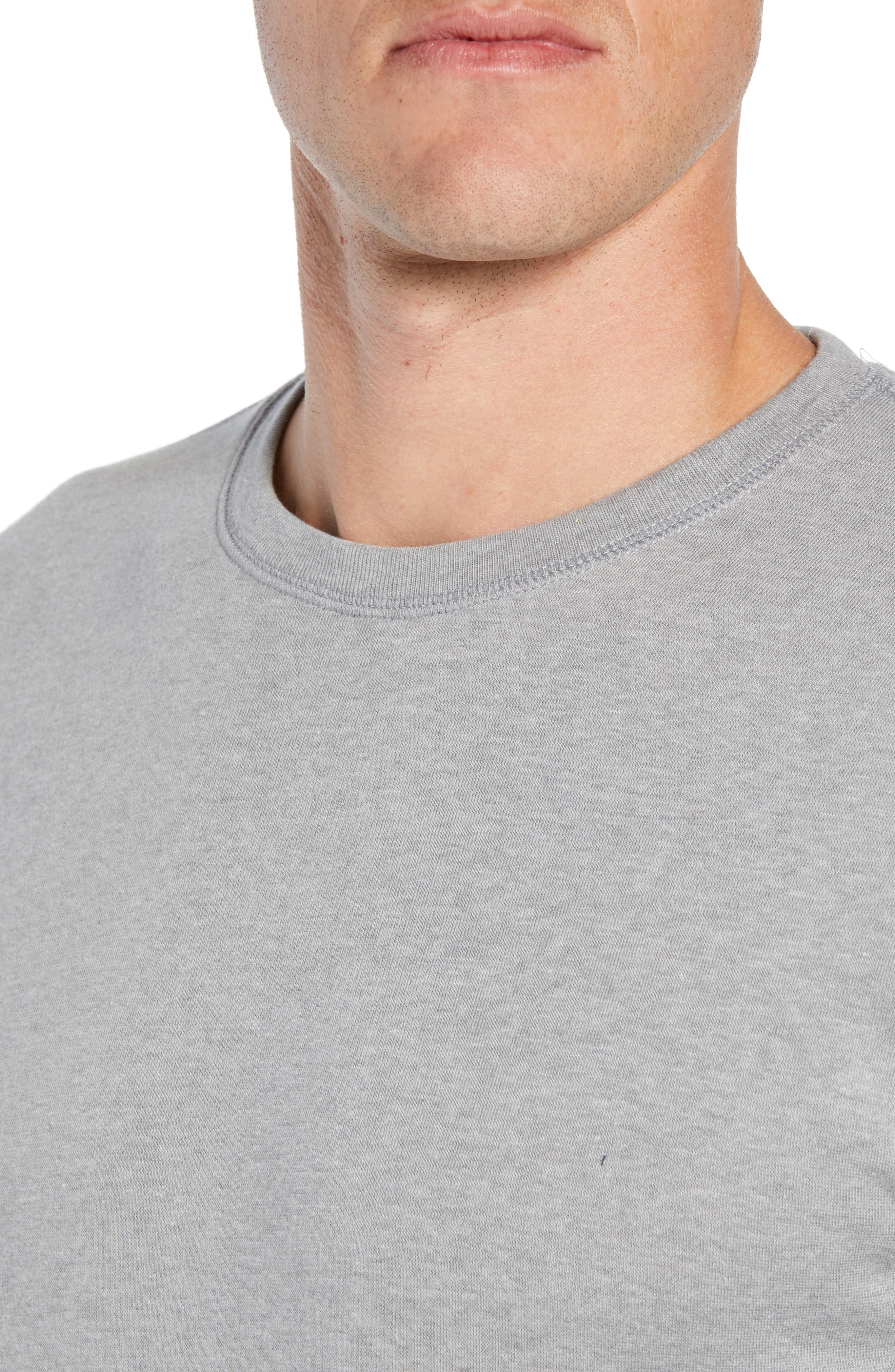 Brushed Jersey Cotton Blend Crewneck Sweatshirt,                             Alternate thumbnail 4, color,                             ANDOVER HEATHER GREY