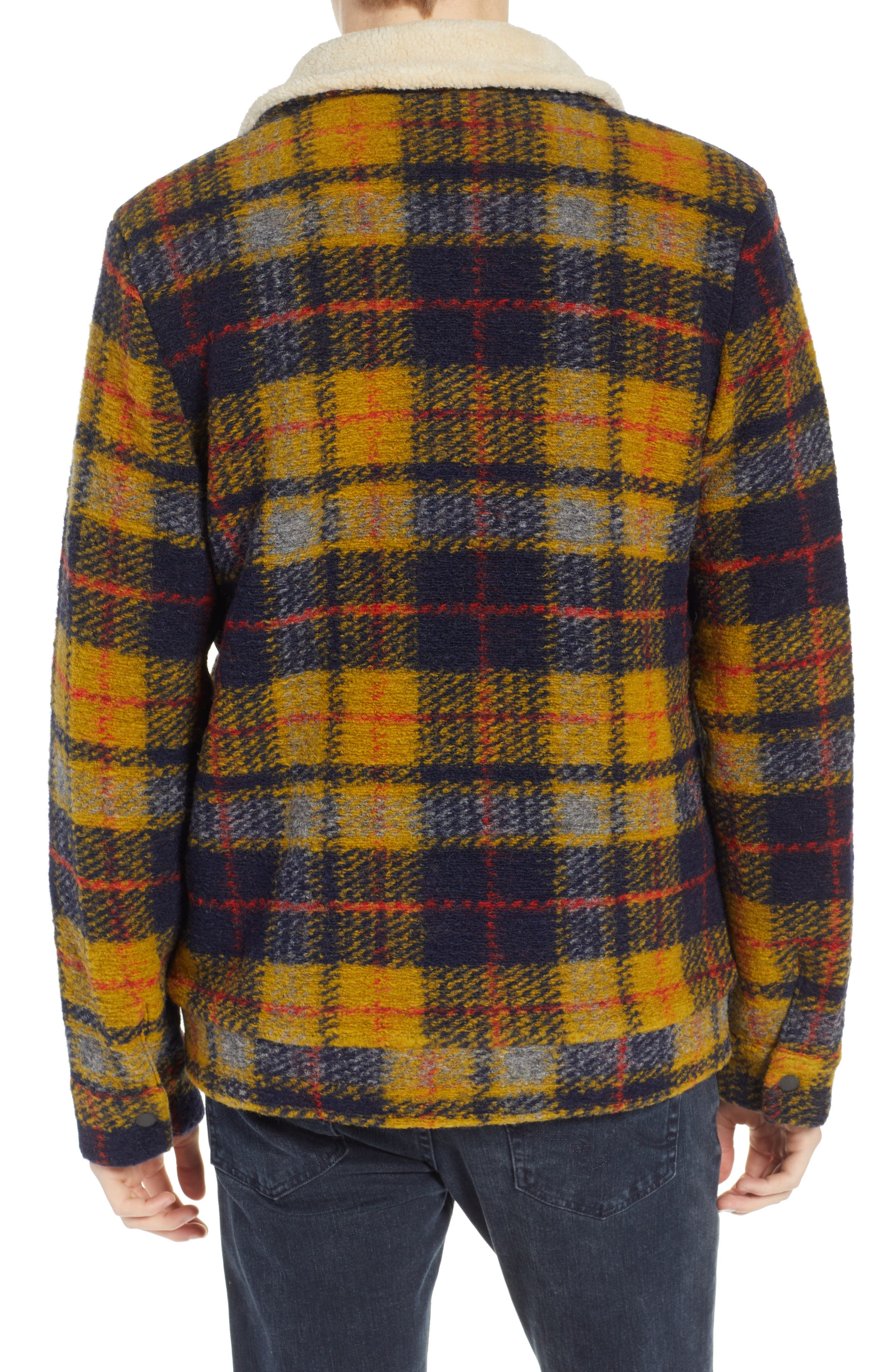 Plaid Faux Shearling Lined Wool Blend Trucker Jacket,                             Alternate thumbnail 2, color,                             COMBO A