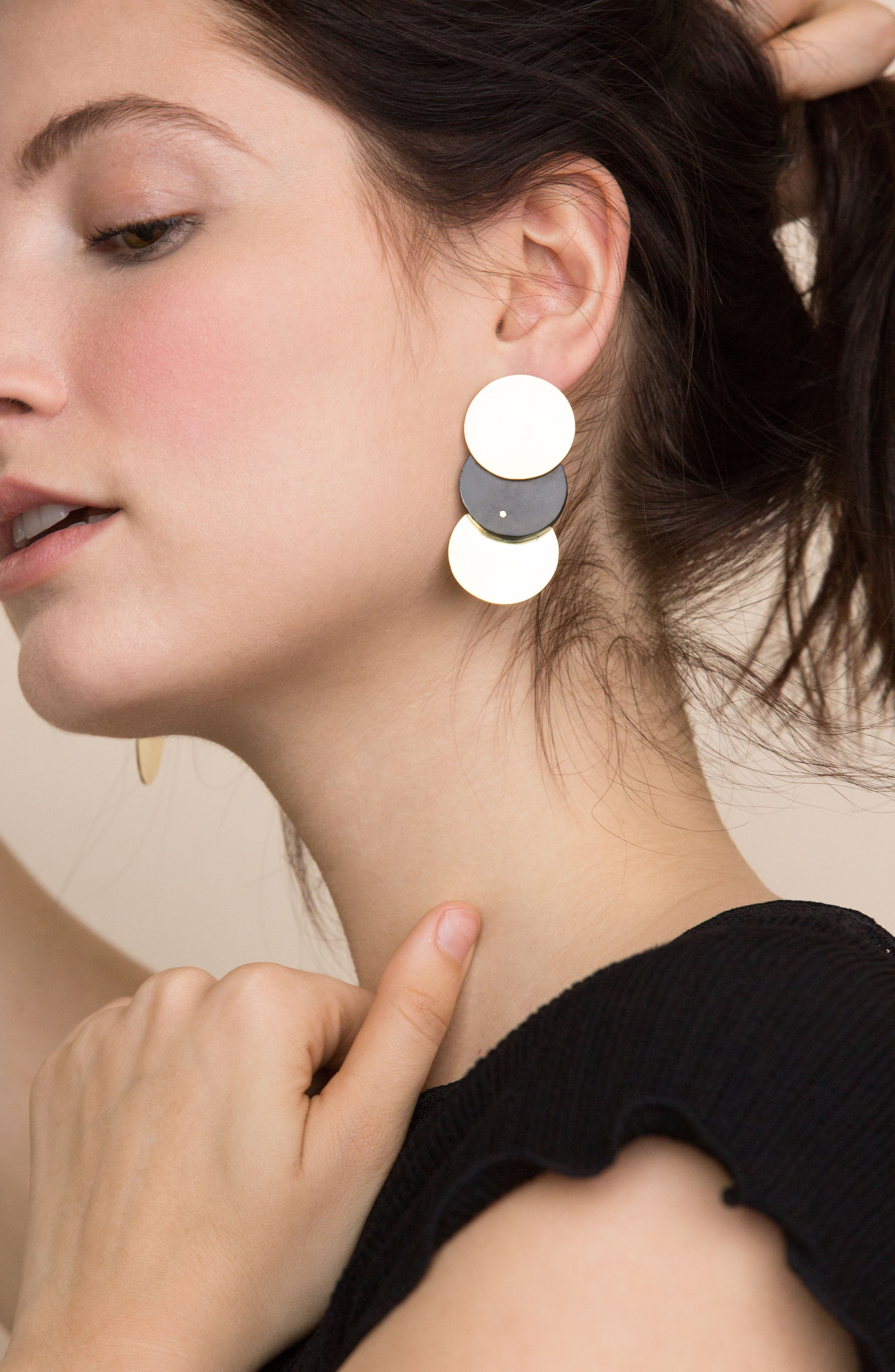 Triple Contrast Coin Earrings,                             Alternate thumbnail 5, color,