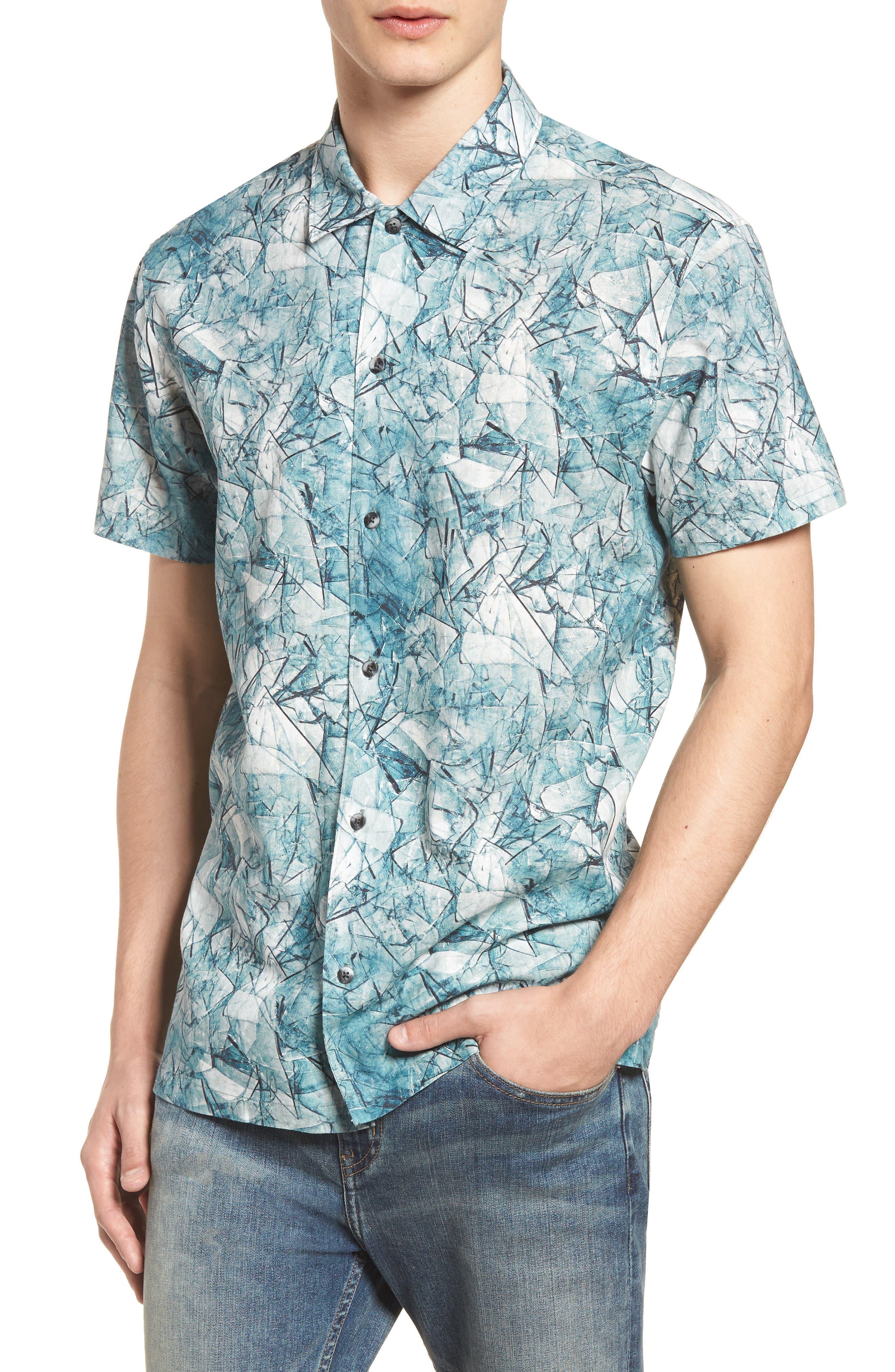 Shoto Short Sleeve Shirt,                             Main thumbnail 1, color,                             SHATTERED BLUE