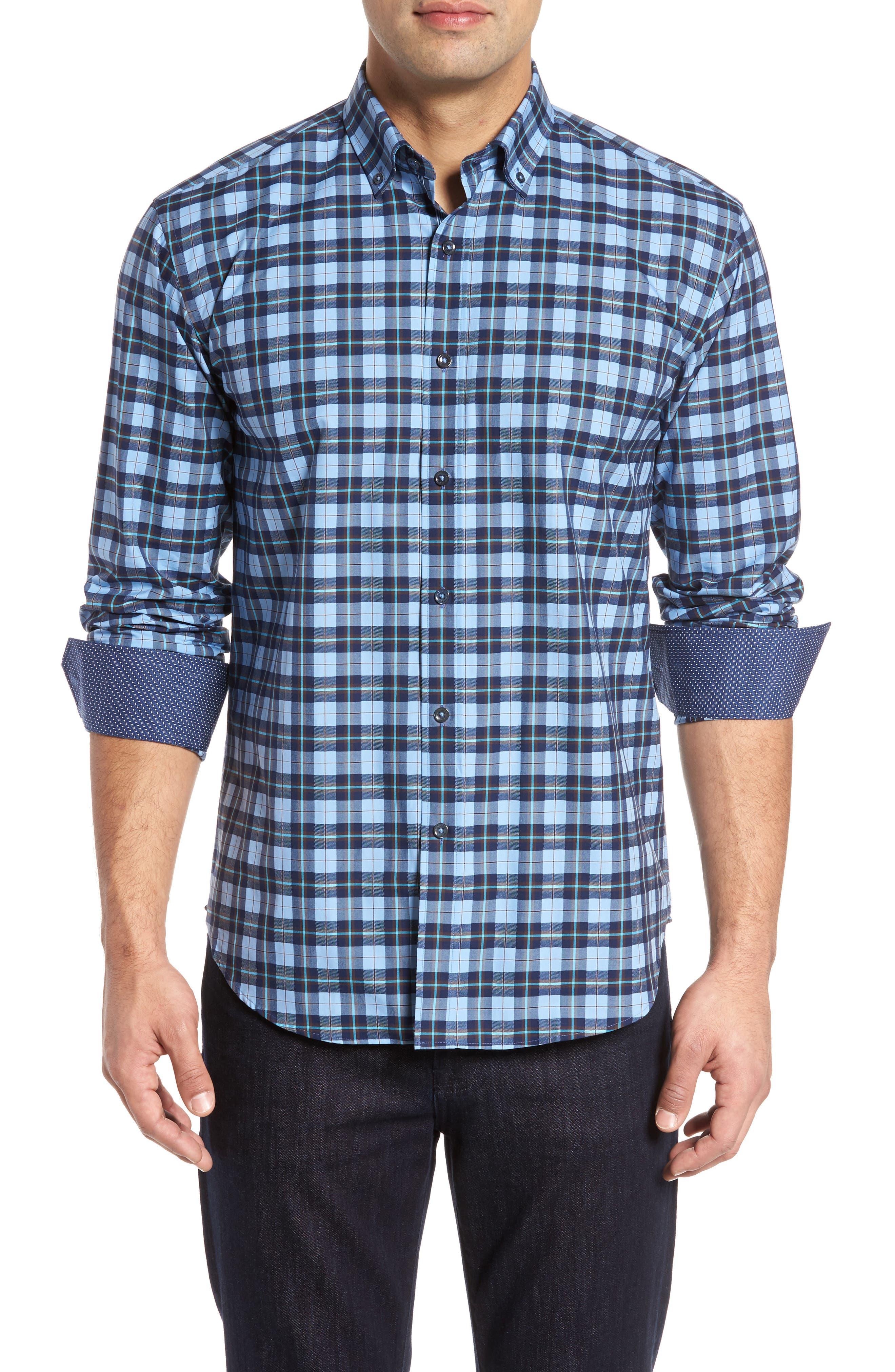 Trim Fit Check Sport Shirt,                             Main thumbnail 1, color,                             459