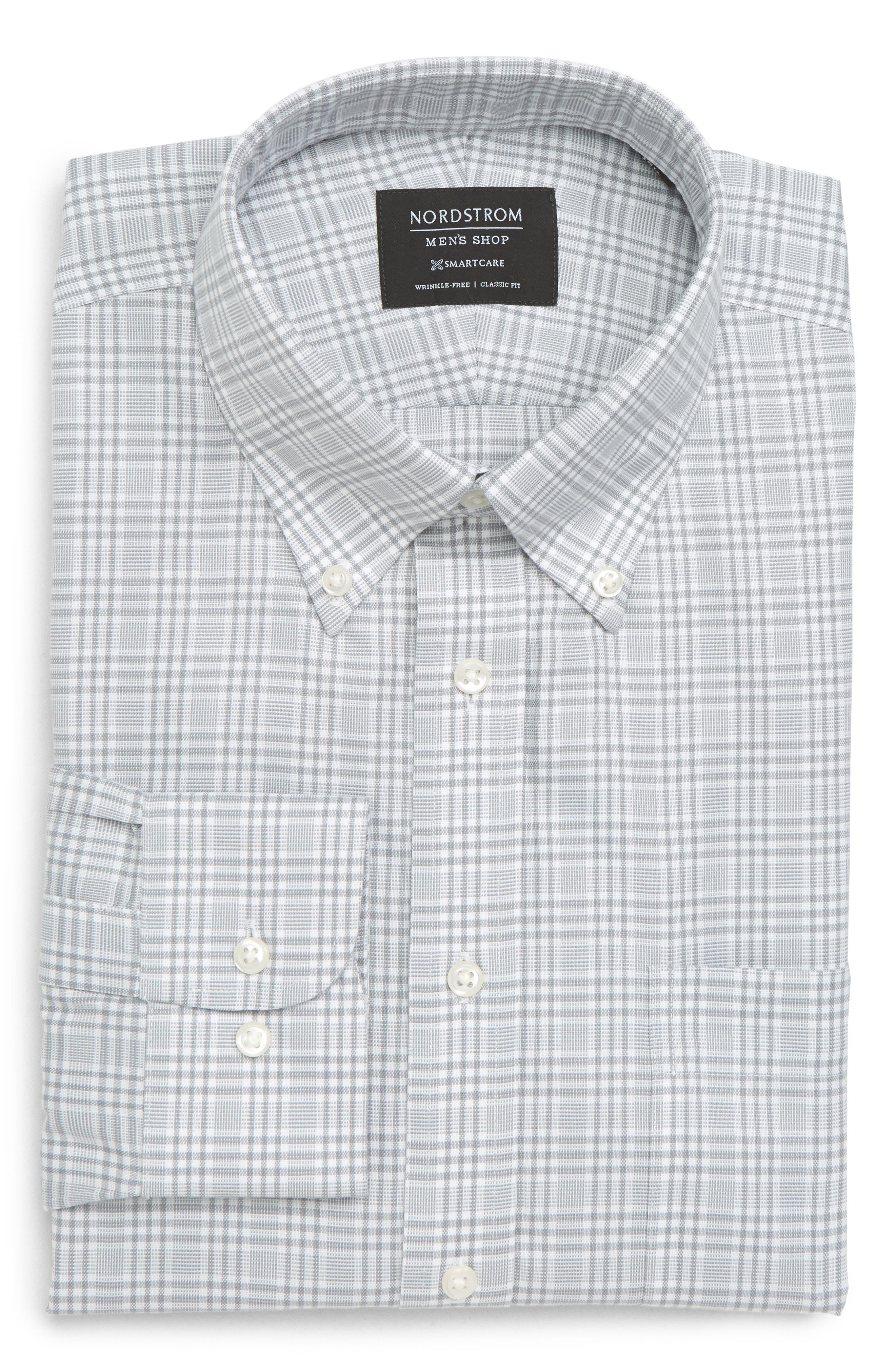 Smartcare<sup>™</sup> Classic Fit Plaid Dress Shirt,                             Alternate thumbnail 5, color,                             050